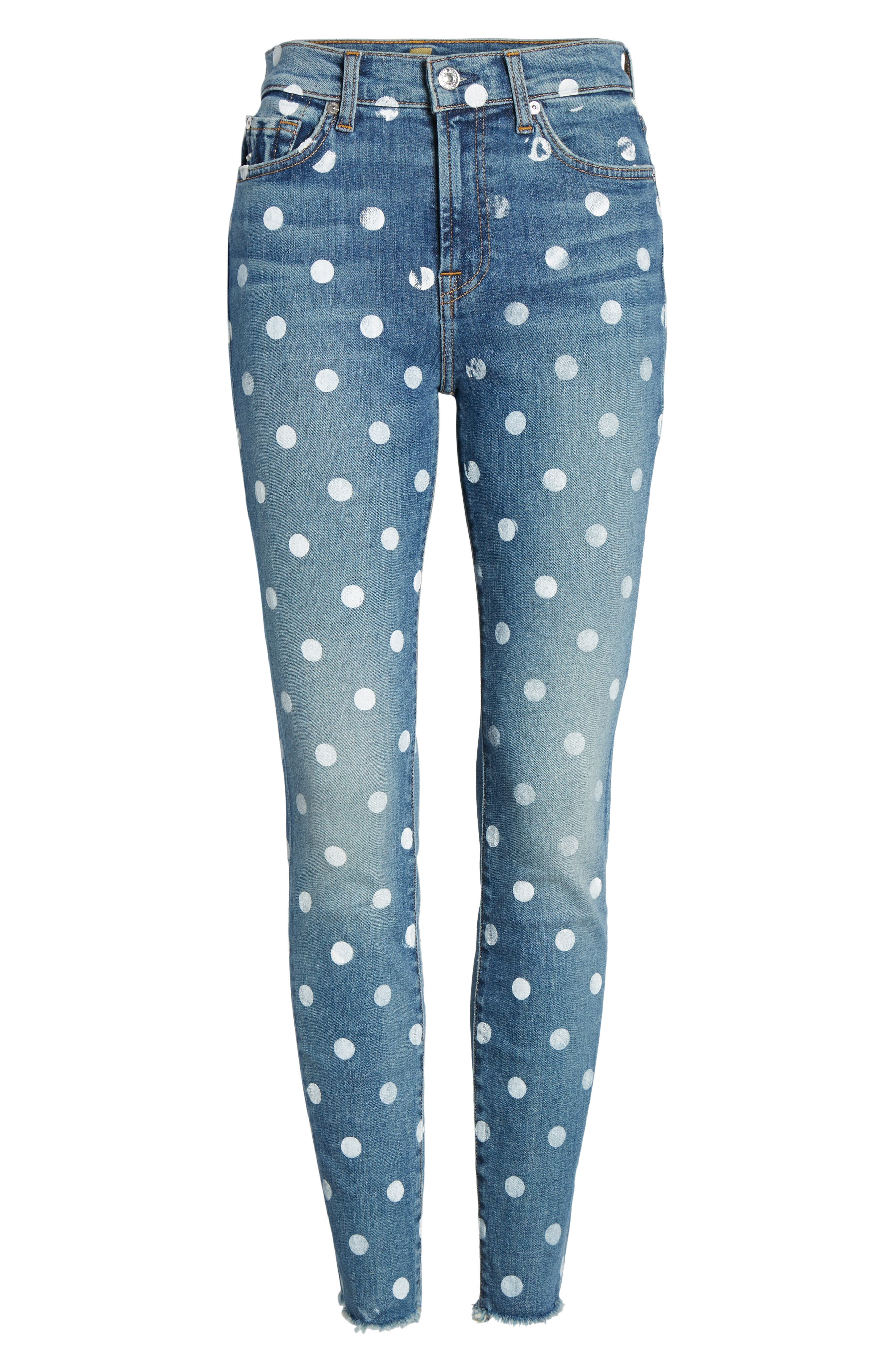 7 FOR ALL MANKIND<SUP>®</SUP>, Polka Dot High Waist Ankle Skinny Jeans, Alternate thumbnail 7, color, RIDGEMONT VINTAGE