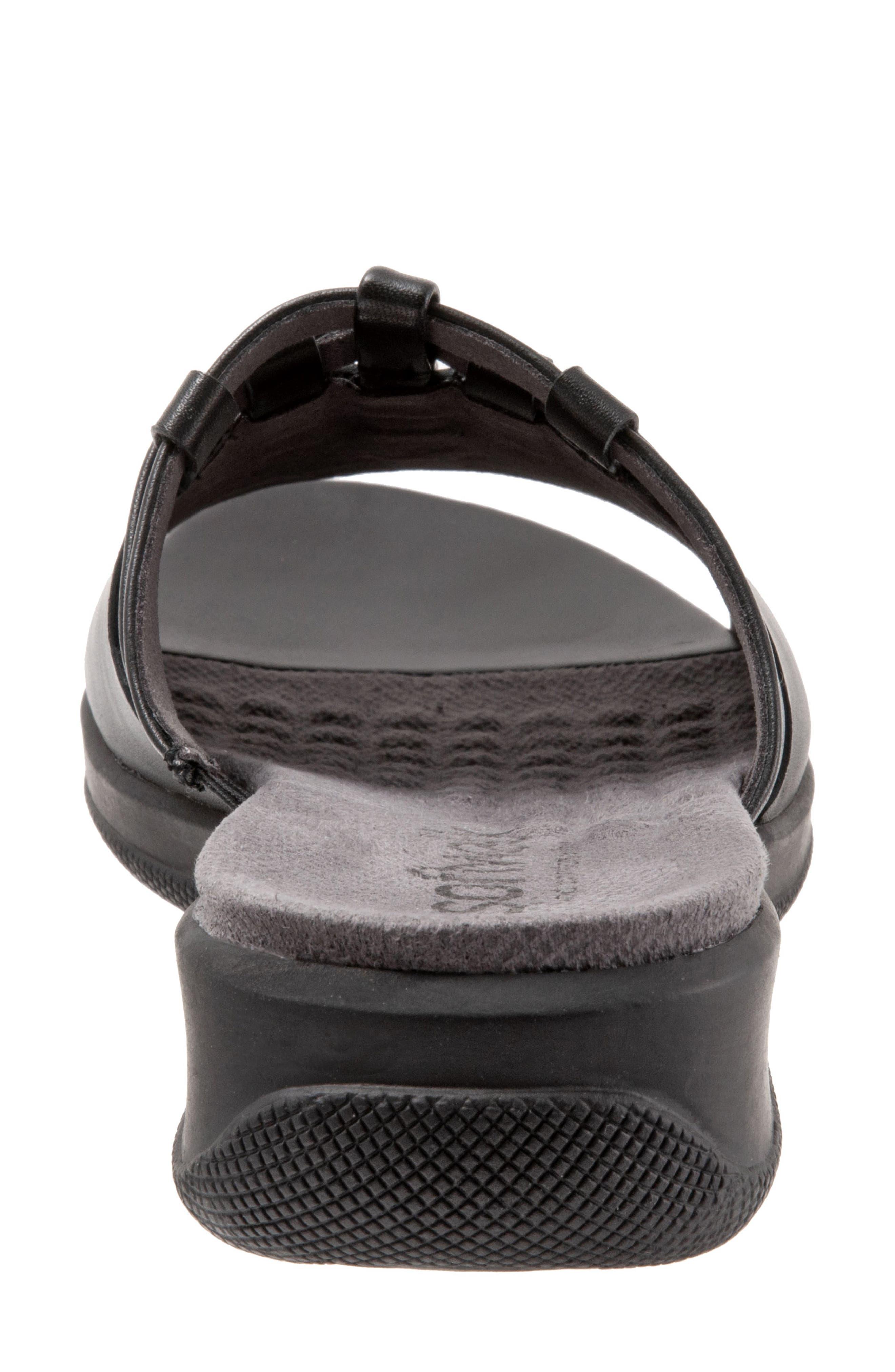 SOFTWALK<SUP>®</SUP>, Tahoma Woven Slide Sandal, Alternate thumbnail 7, color, BLACK LEATHER