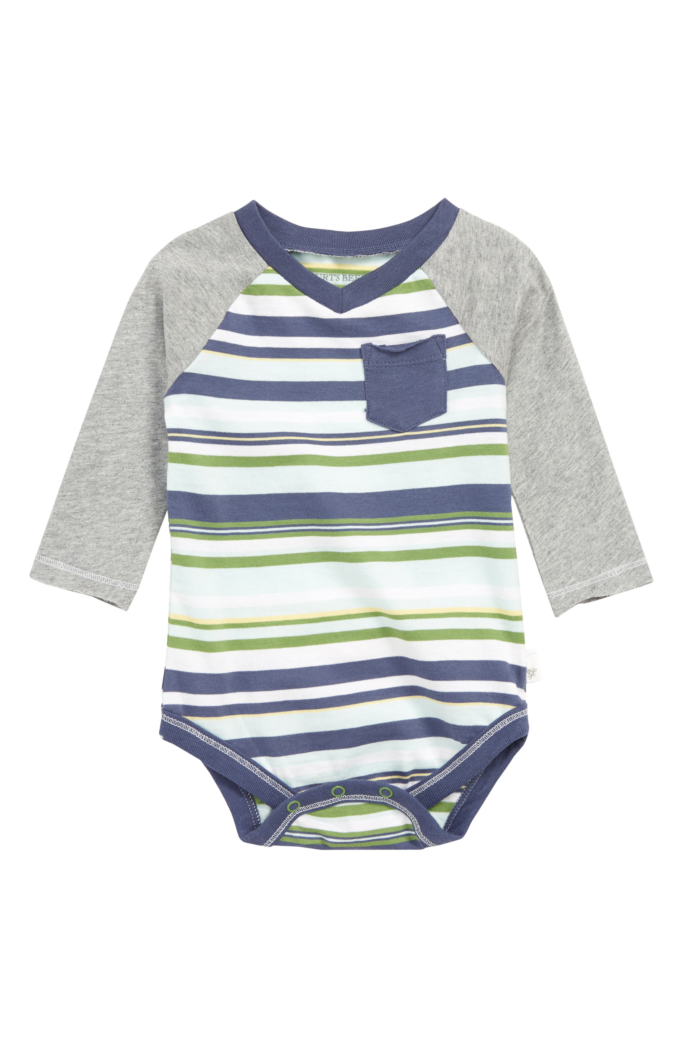 BURT'S BEES BABY, Vintage Stripe Organic Cotton Bodysuit, Main thumbnail 1, color, INDIGO