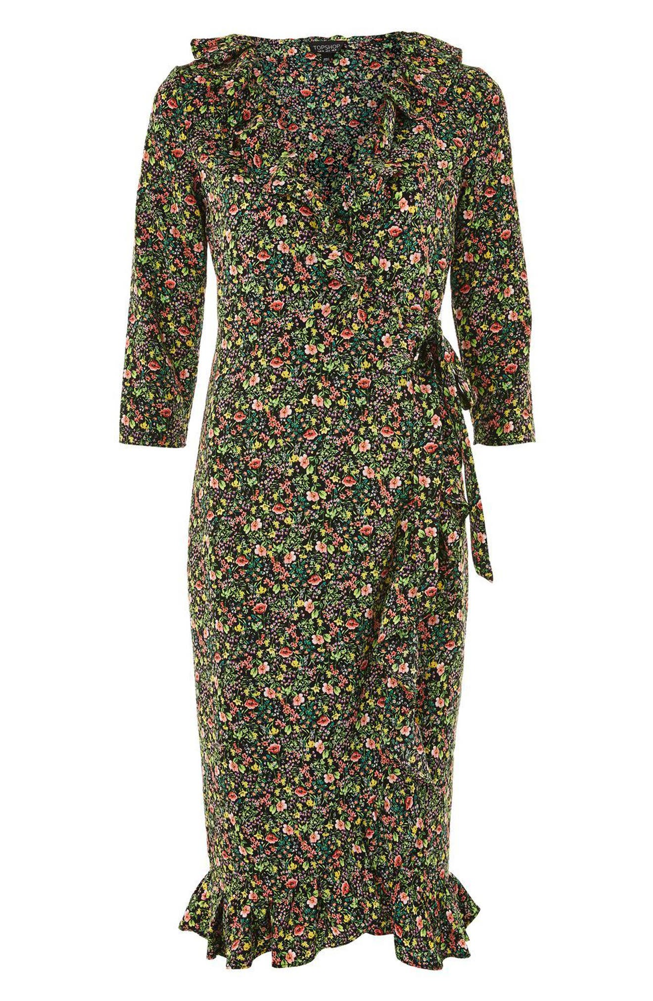 TOPSHOP, Flower Garden Ruffle Wrap Dress, Alternate thumbnail 4, color, 001