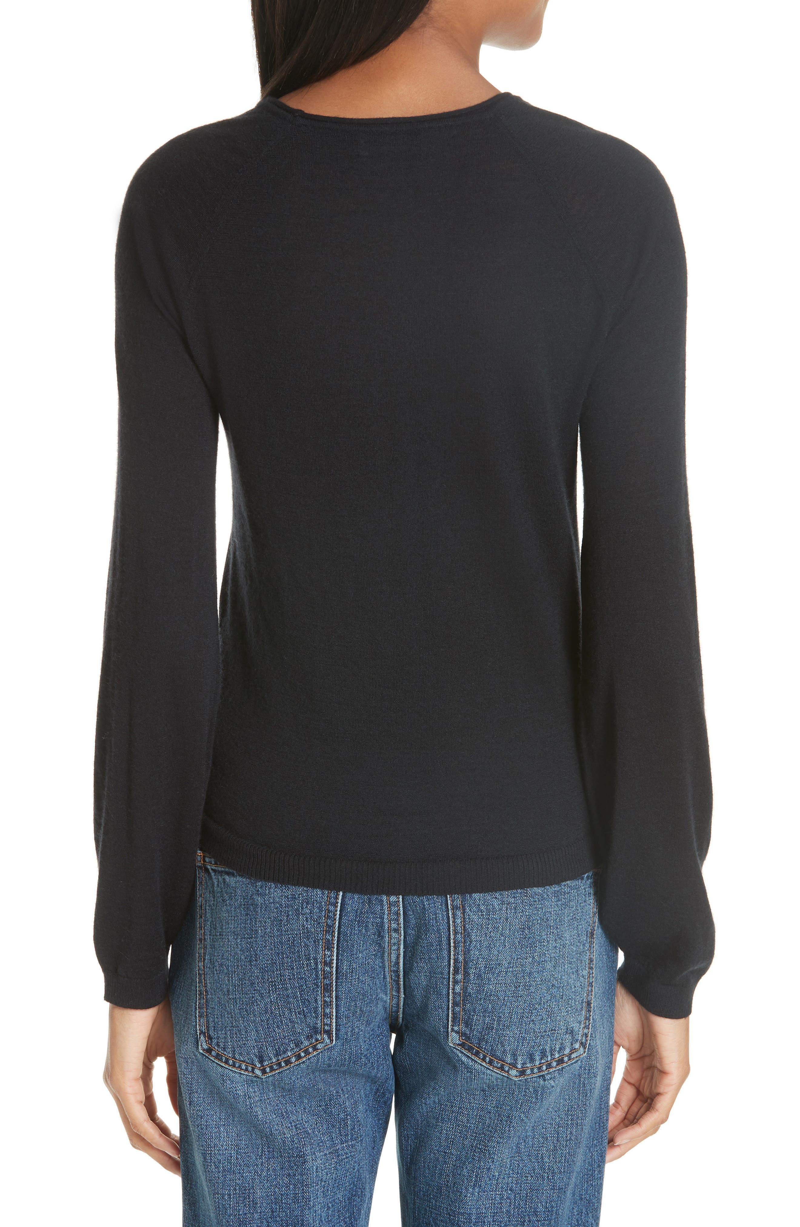 CO, Essentials Cashmere Sweater, Alternate thumbnail 2, color, BLACK