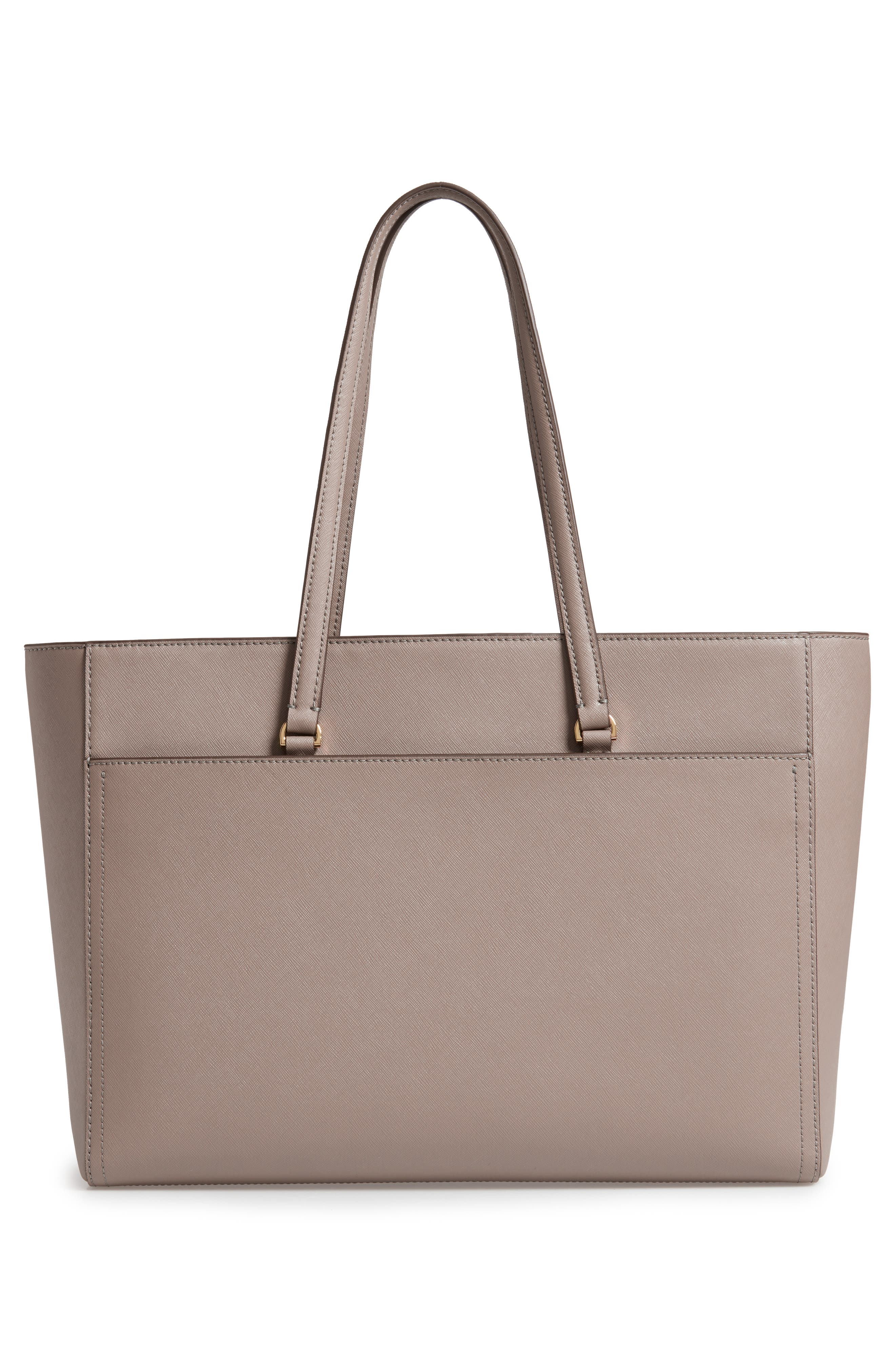 TORY BURCH, Robinson Leather Tote, Alternate thumbnail 4, color, GRAY HERON