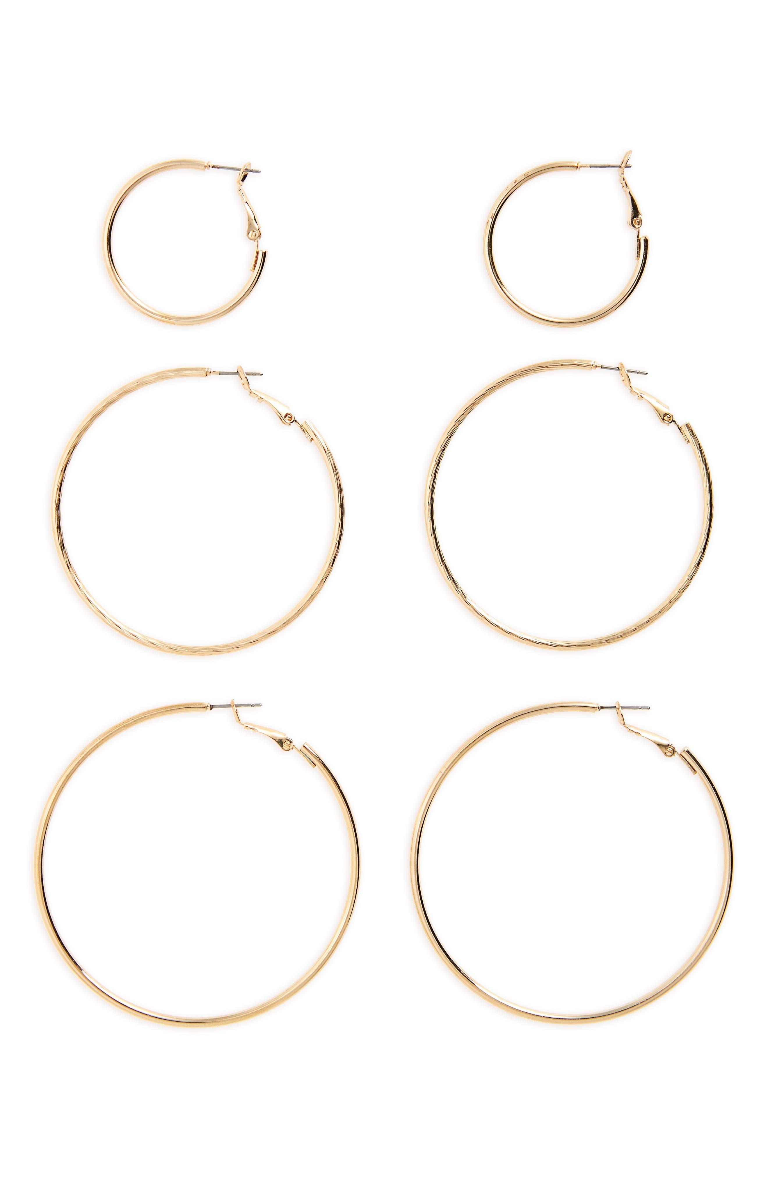 BP., 3-Pack Hoop Earrings, Main thumbnail 1, color, GOLD