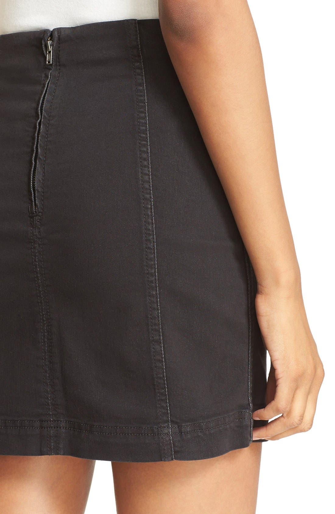 FREE PEOPLE, We the Free by Free People Modern Denim Miniskirt, Alternate thumbnail 4, color, 001