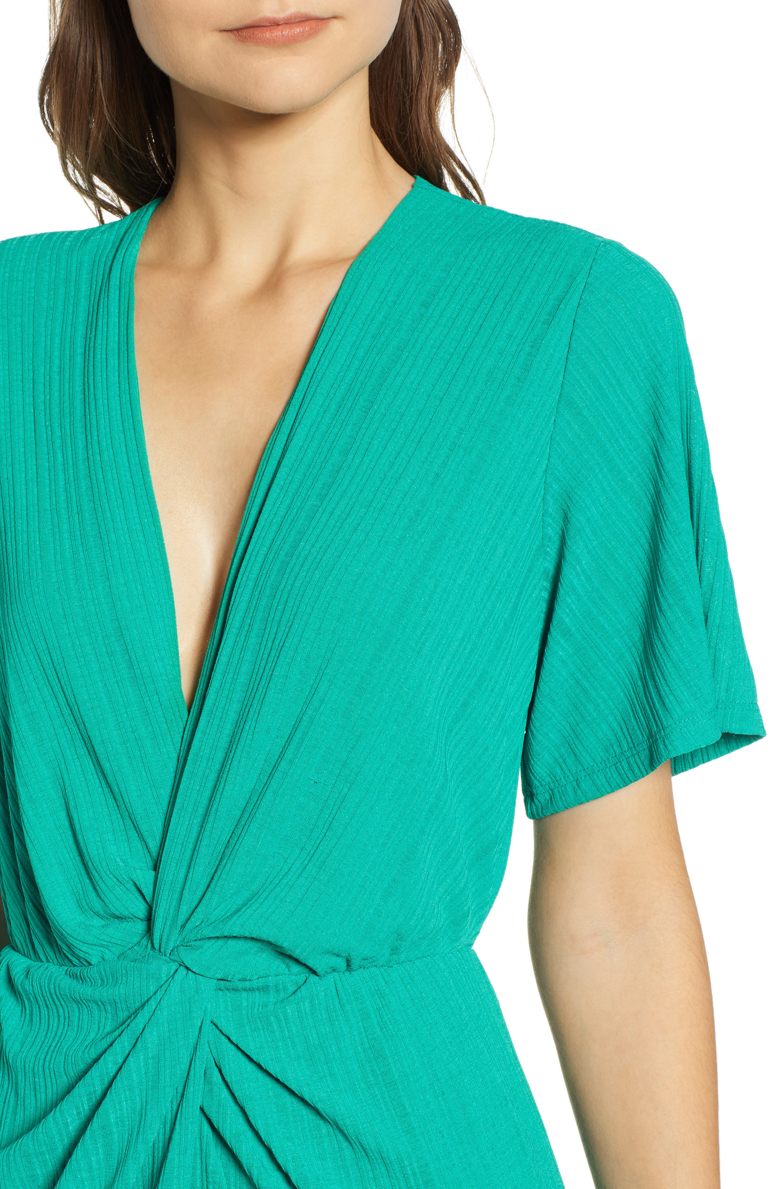 ALL IN FAVOR, Knot Front Midi Dress, Alternate thumbnail 5, color, PINE GREEN