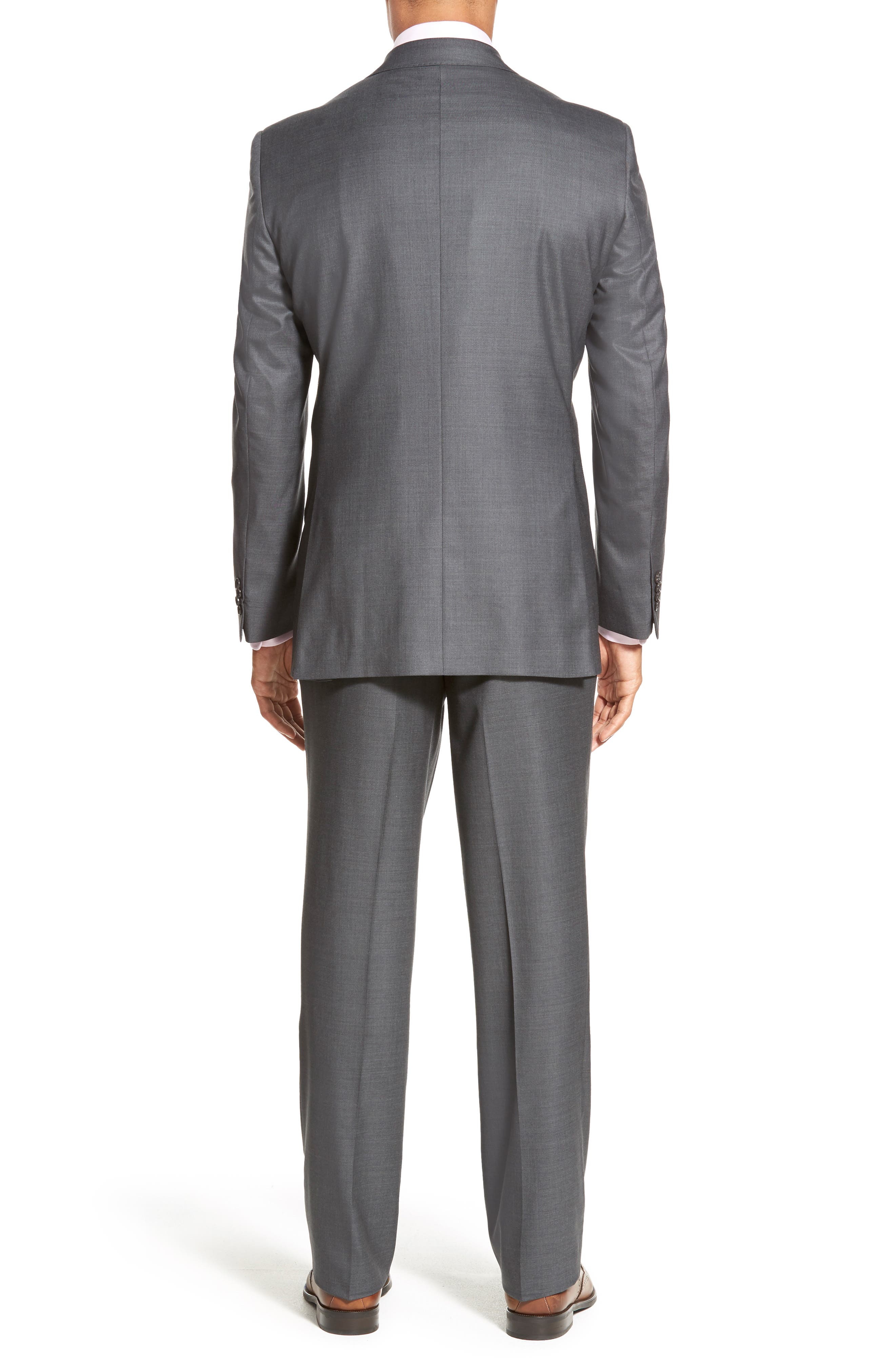 DAVID DONAHUE, Ryan Classic Fit Solid Wool Suit, Alternate thumbnail 2, color, GREY