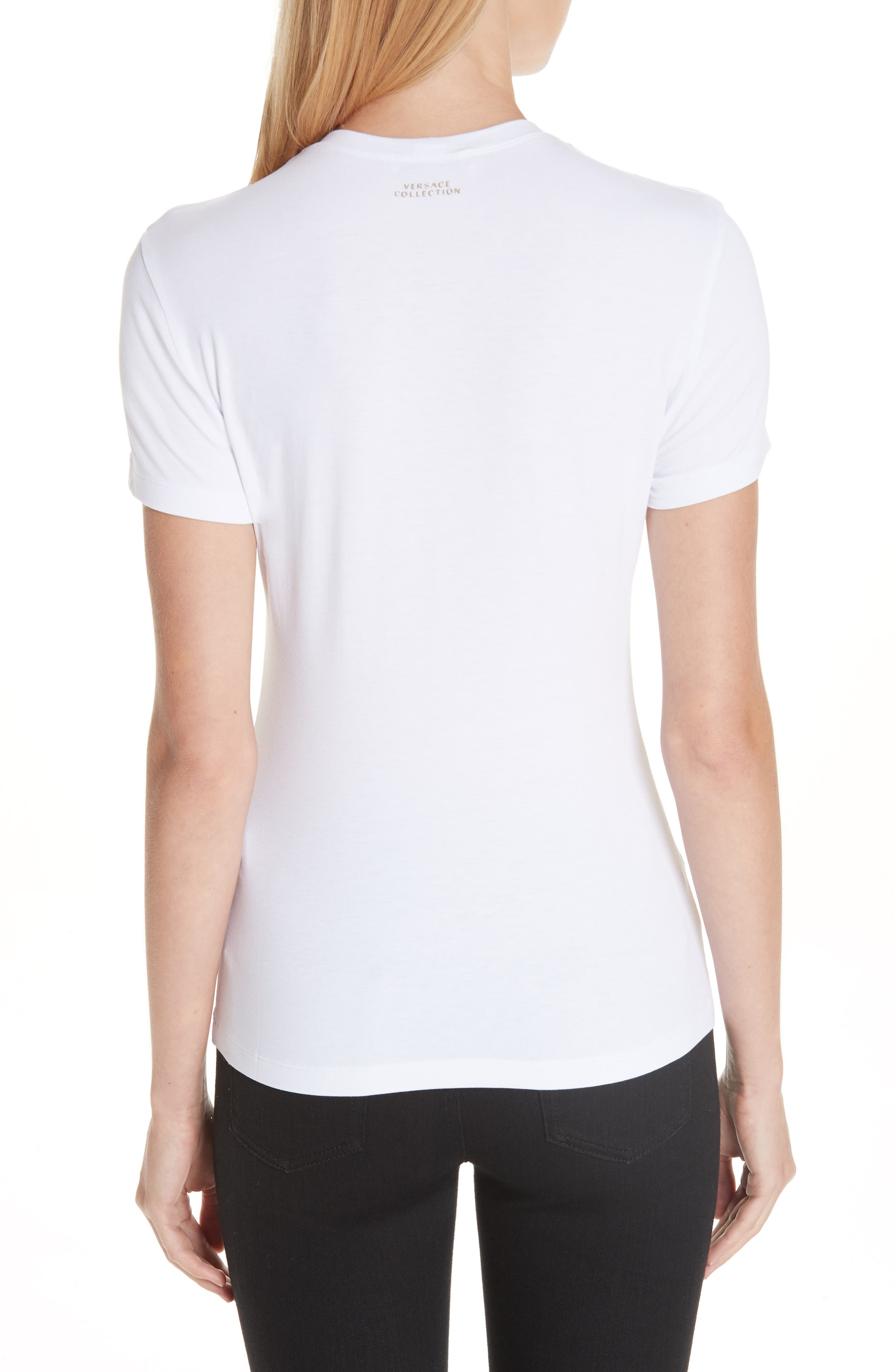 VERSACE COLLECTION, Medusa Crystal Embellished Jersey Tee, Alternate thumbnail 2, color, 111