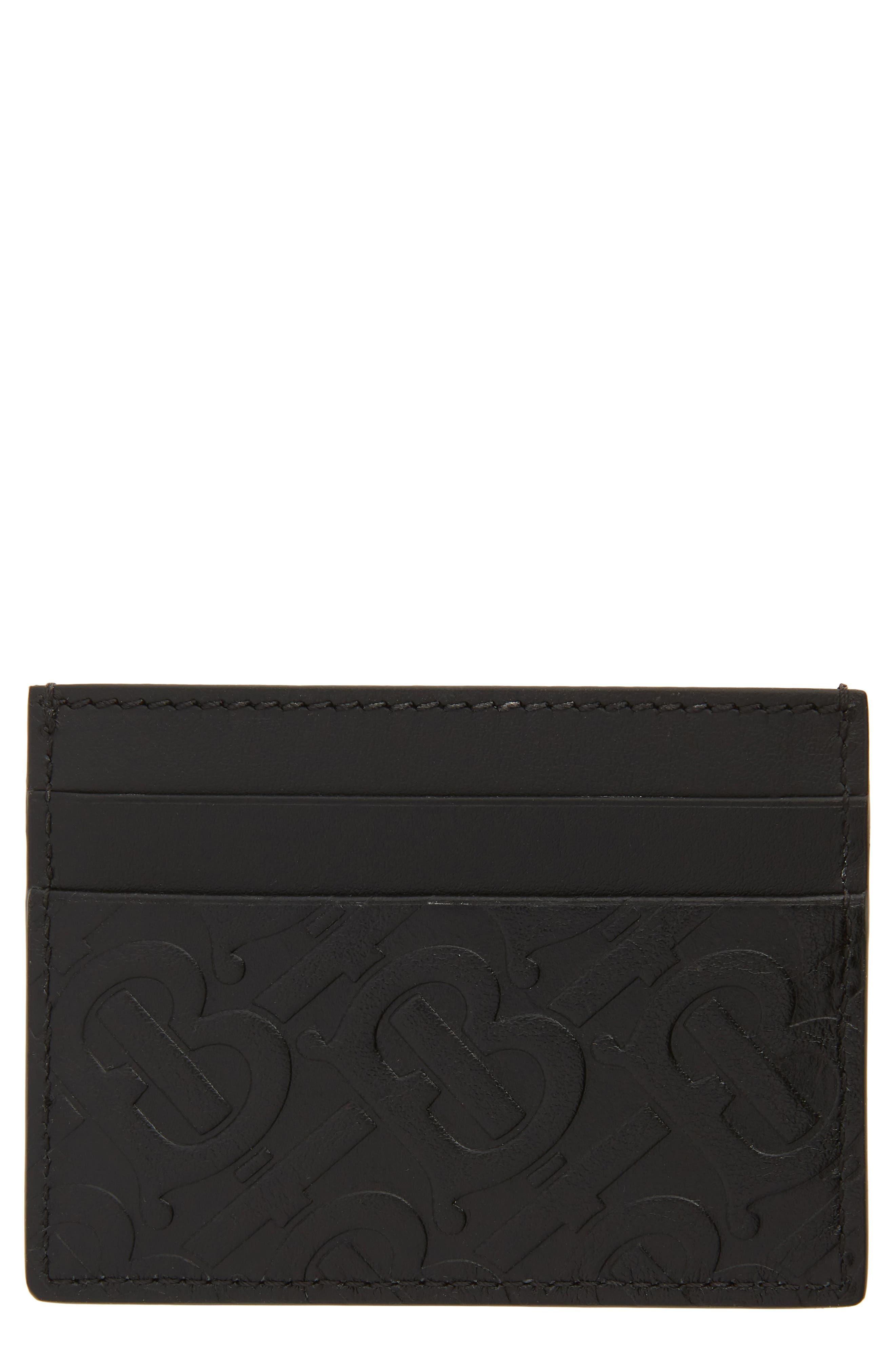 BURBERRY, Sandon Monogram Leather Card Case, Alternate thumbnail 2, color, BLACK