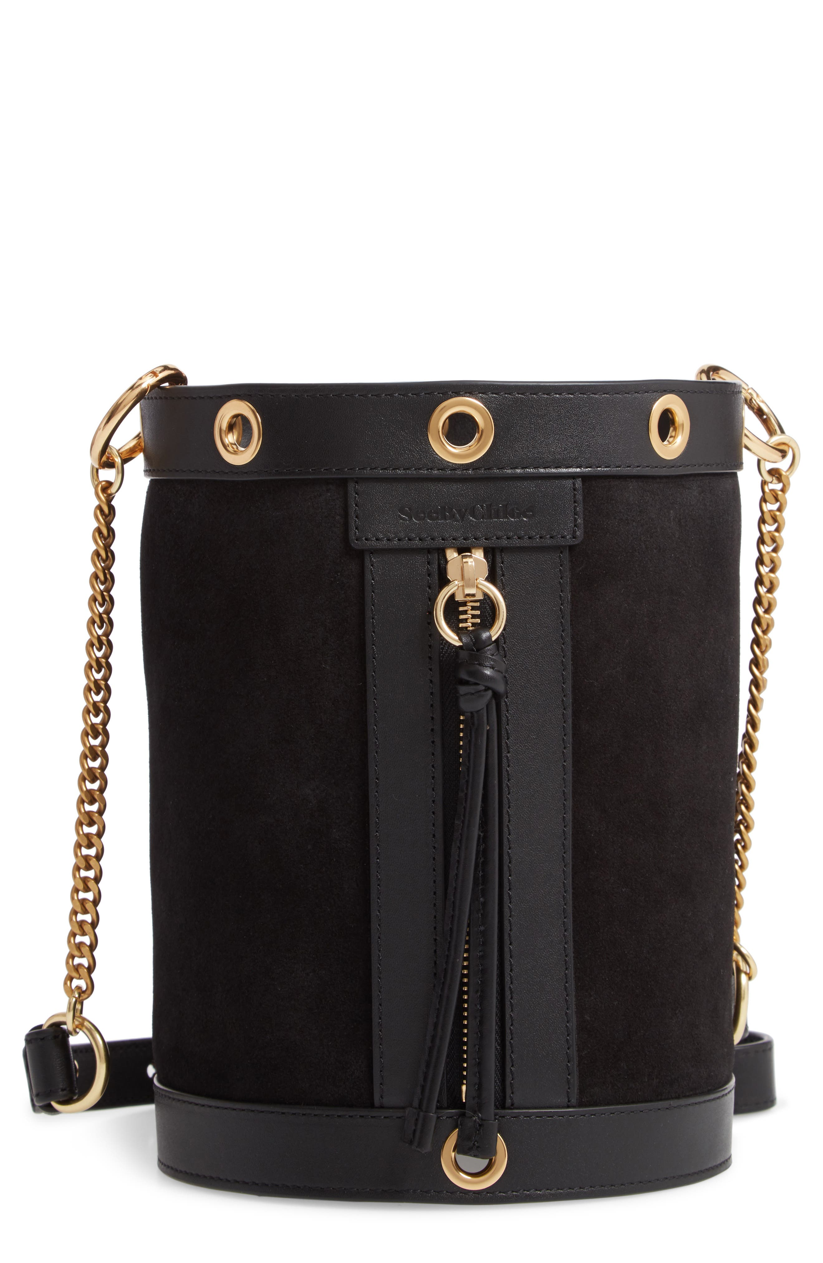 SEE BY CHLOÉ, Debbie Leather Bucket Bag, Main thumbnail 1, color, 001
