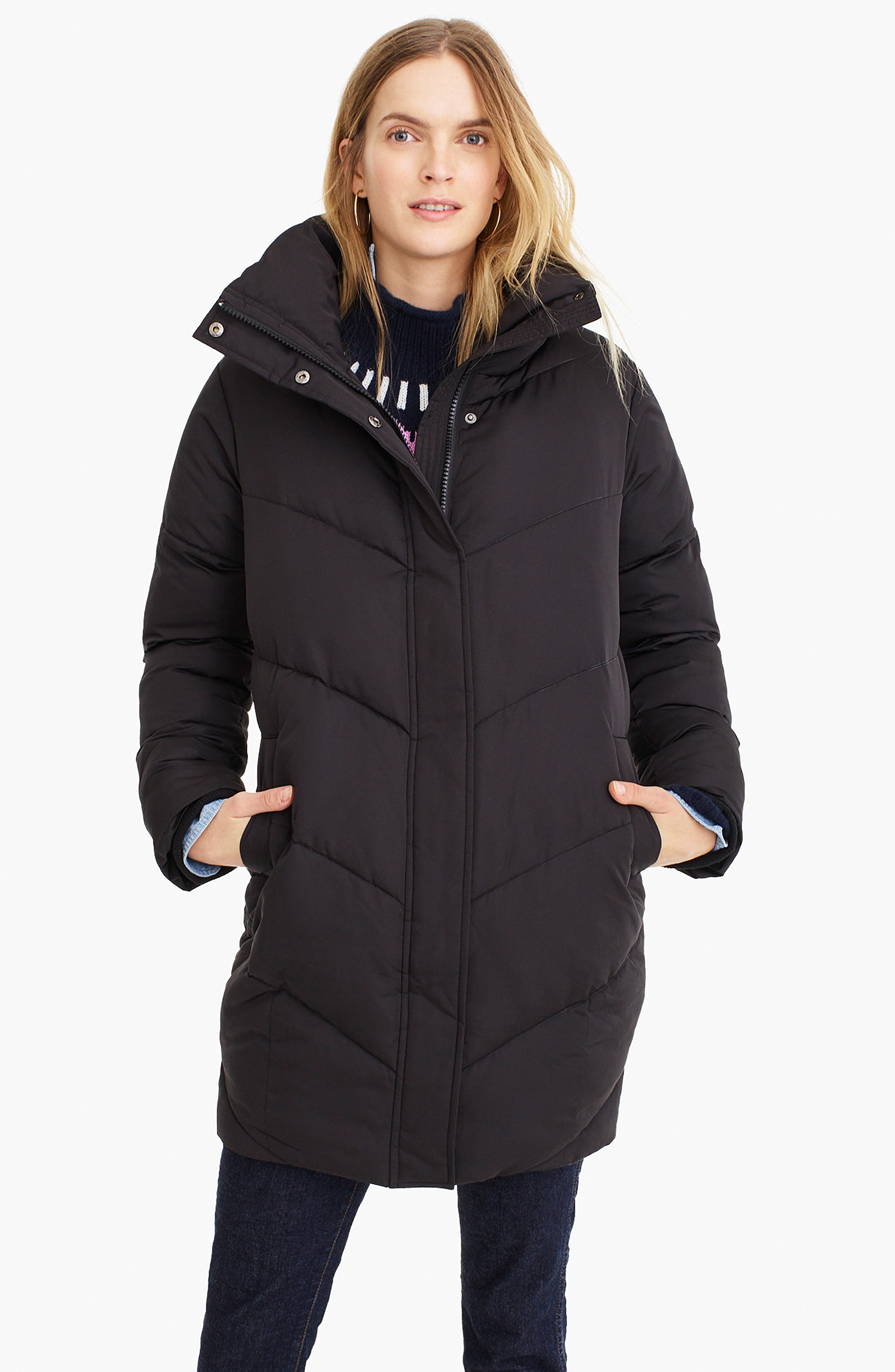 UNIVERSAL STANDARD, for J.Crew Chevron Long Puffer Coat, Alternate thumbnail 9, color, BLACK