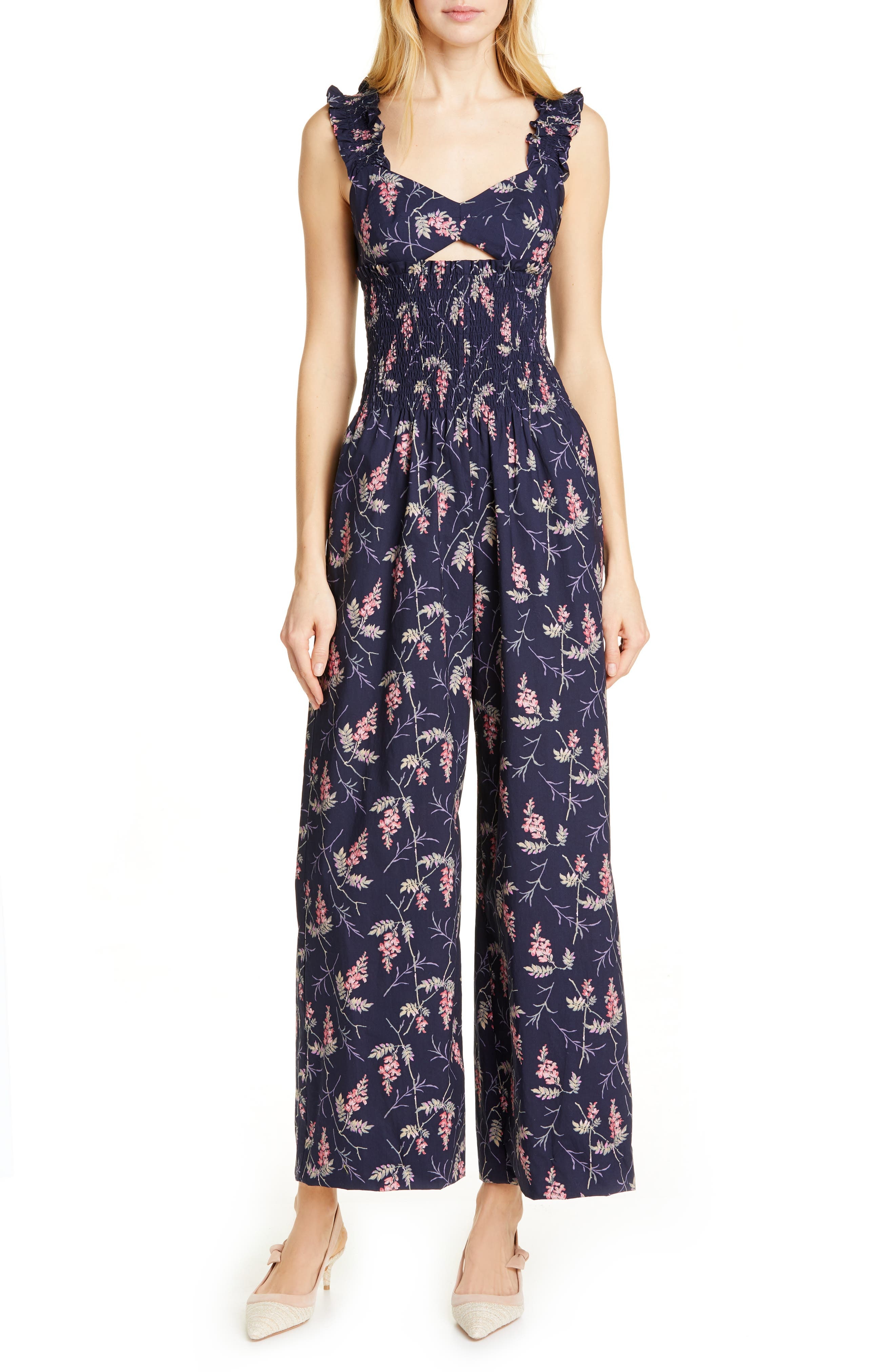 REBECCA TAYLOR, Ivie Floral Cotton Jumpsuit, Main thumbnail 1, color, NAVY COMBO