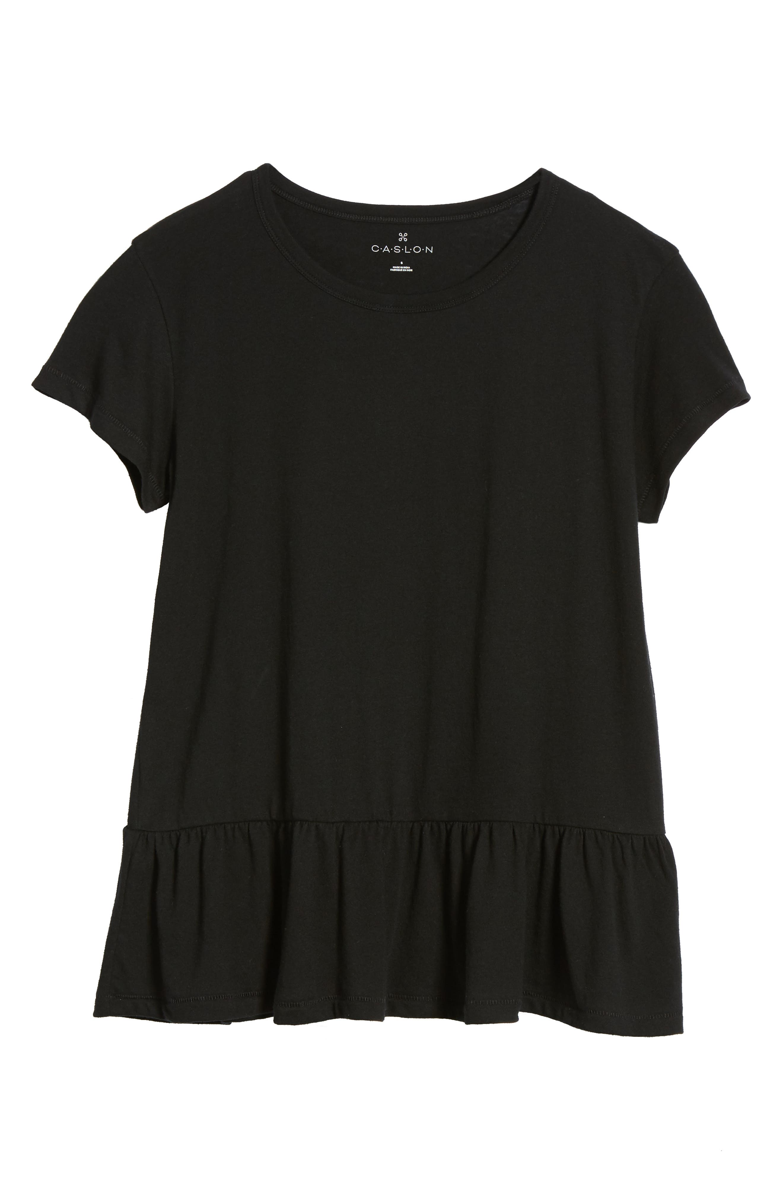 CASLON<SUP>®</SUP>, Peplum Tee, Alternate thumbnail 6, color, BLACK