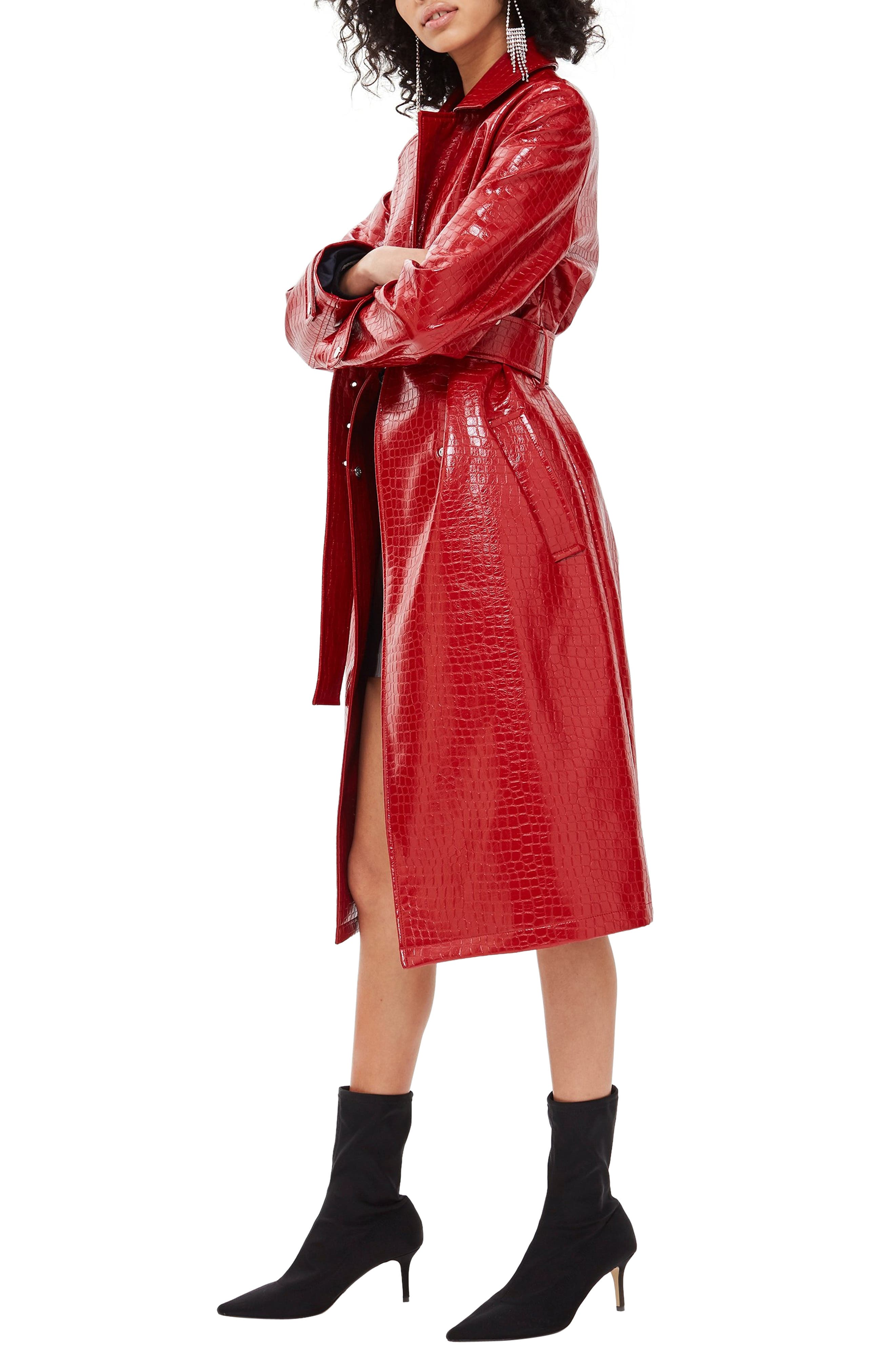 TOPSHOP, Croc-Embossed Trench Coat, Alternate thumbnail 4, color, RED