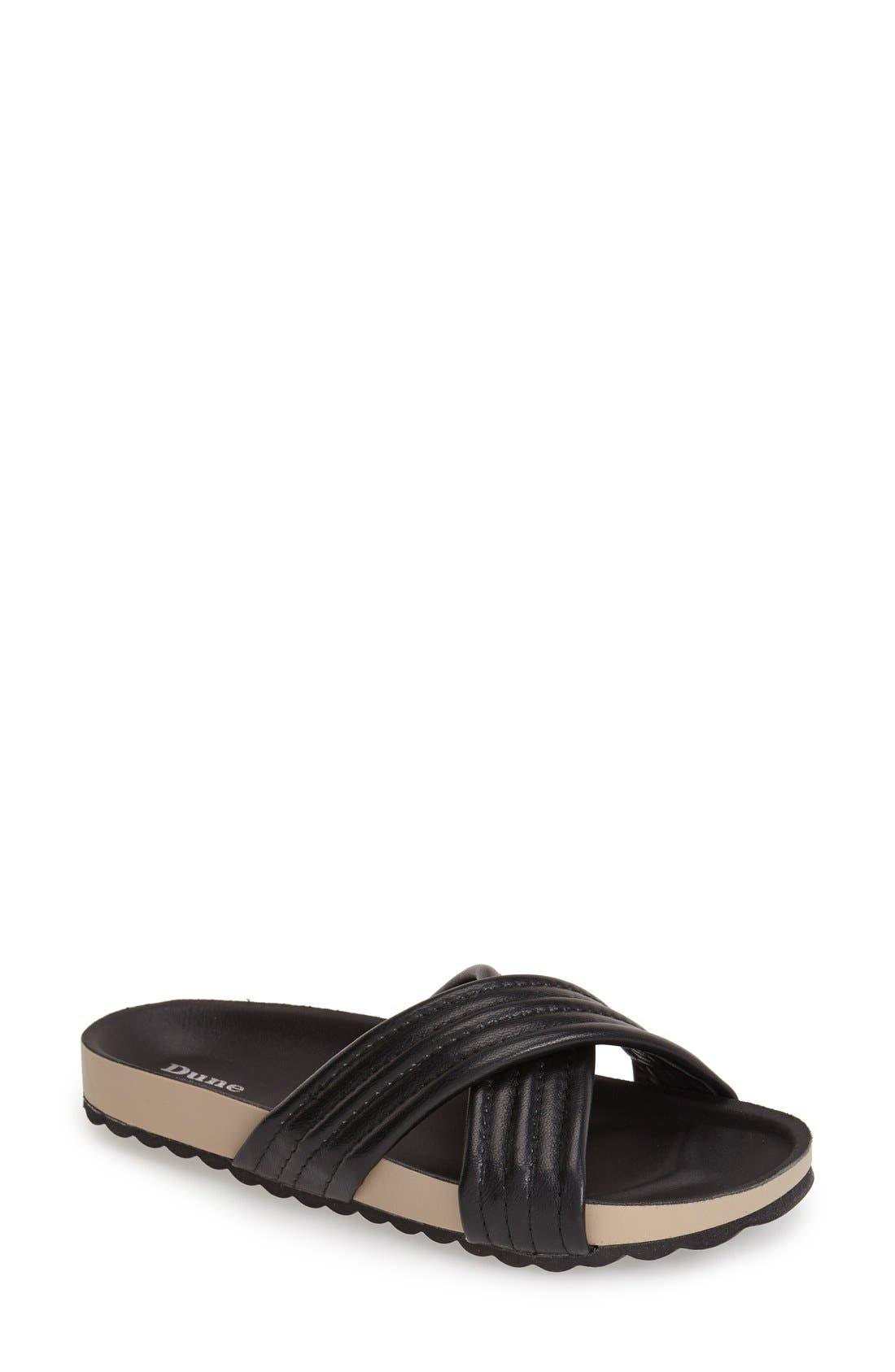 DUNE LONDON, 'Jolenes' Leather Slide Sandal, Main thumbnail 1, color, 002