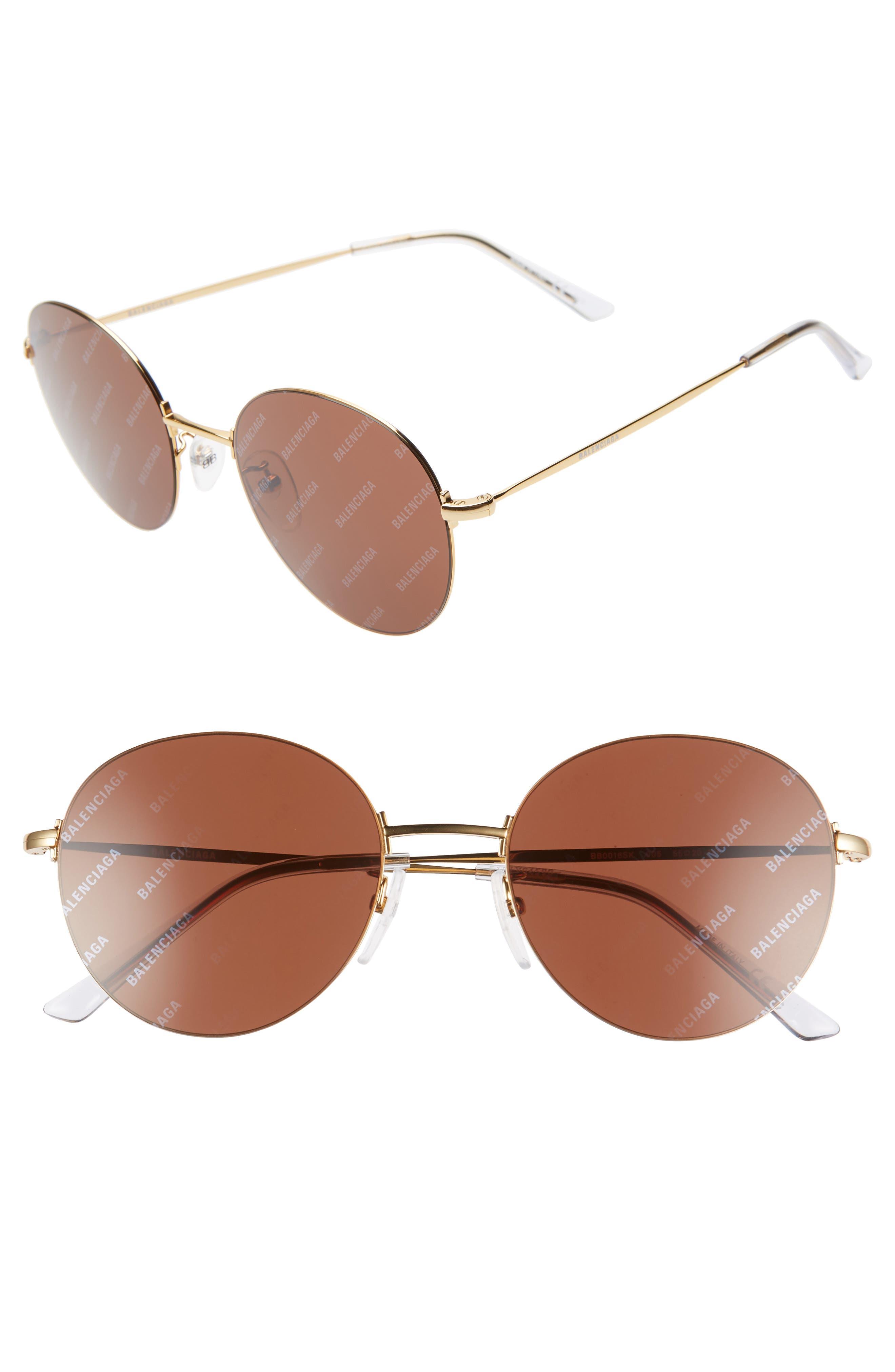 BALENCIAGA 55mm Round Sunglasses, Main, color, SHINY ENDURA GOLD/ BROWN