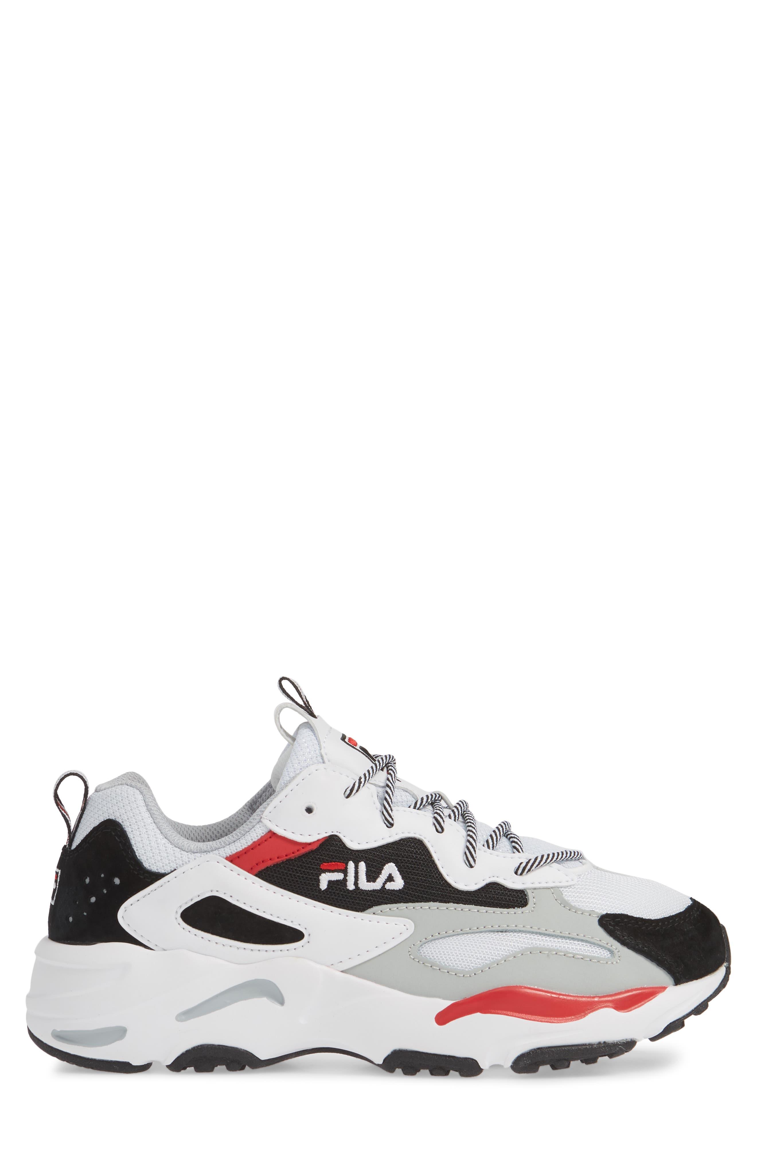 FILA, Ray Tracer Sneaker, Alternate thumbnail 3, color, WHITE/ BLACK