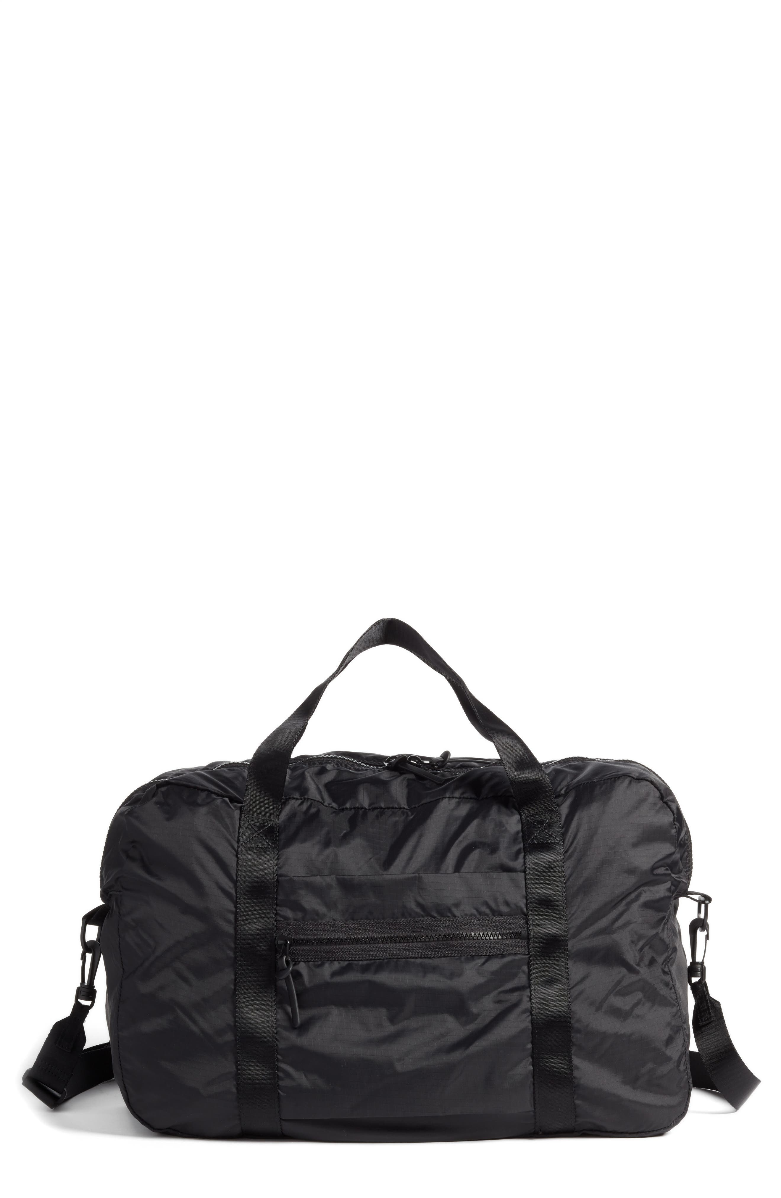 NORDSTROM, Packable Nylon Duffel Bag, Main thumbnail 1, color, BLACK