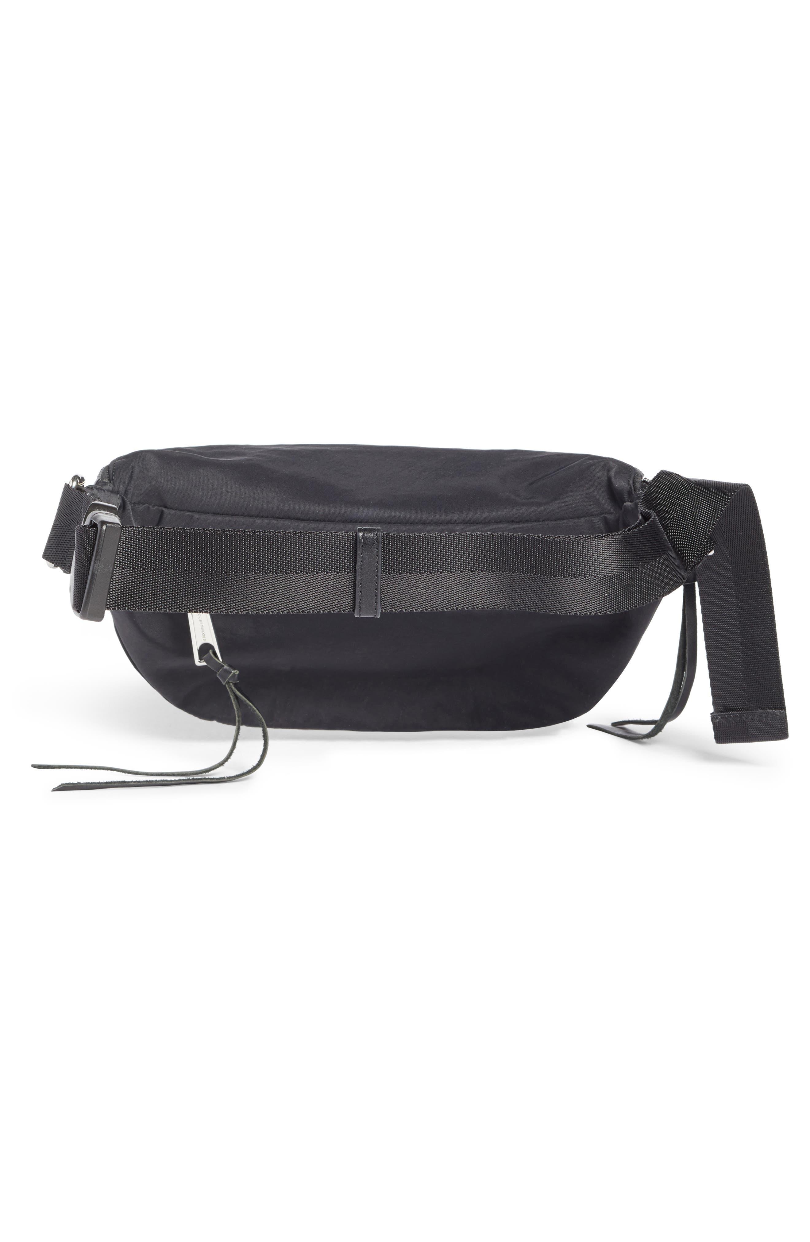 REBECCA MINKOFF, Nylon Belt Bag, Alternate thumbnail 4, color, BLACK