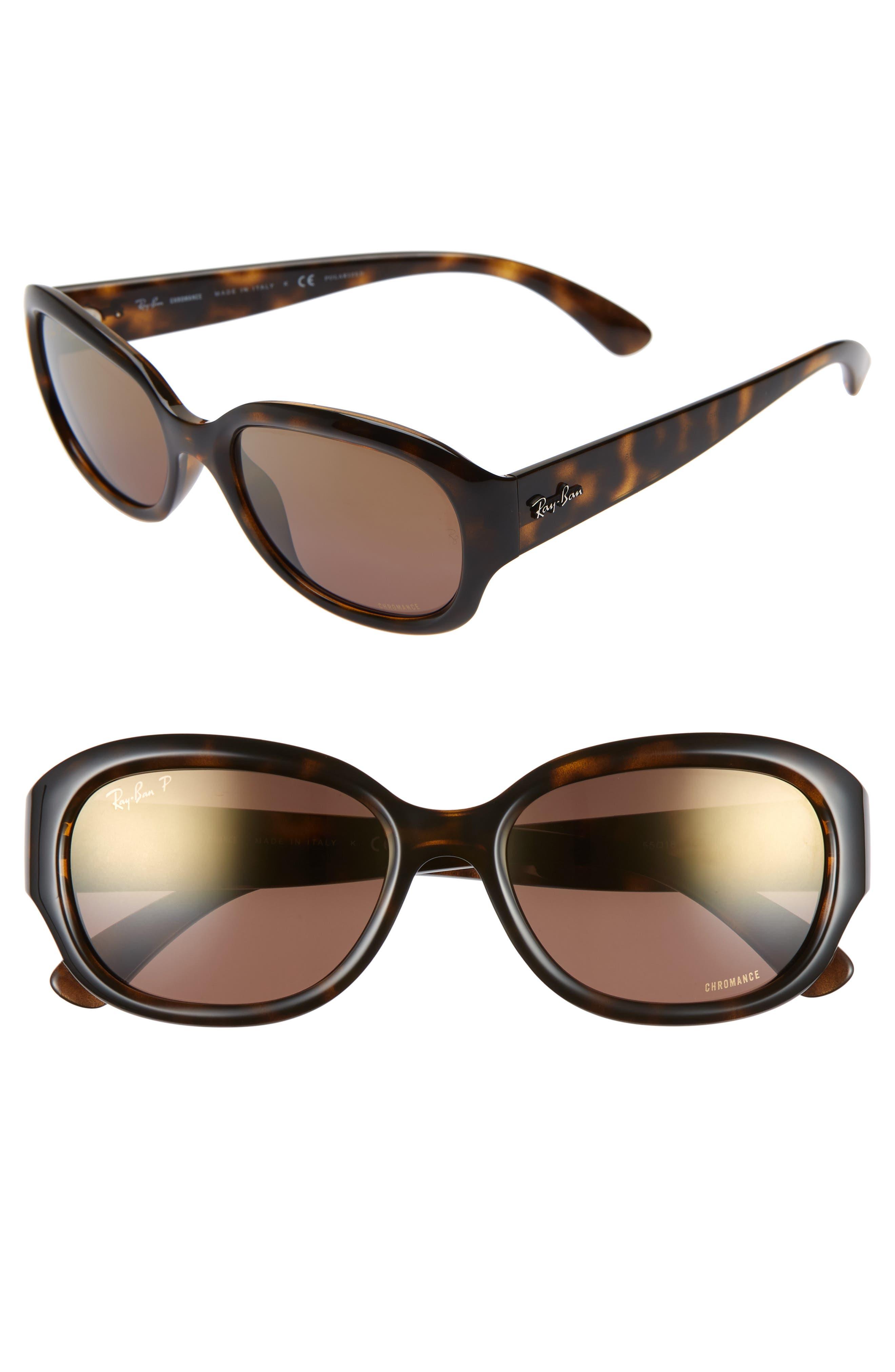 RAY-BAN 55mm Chromance Polarized Sunglasses, Main, color, HAVANA/ GRADIENT MIRROR