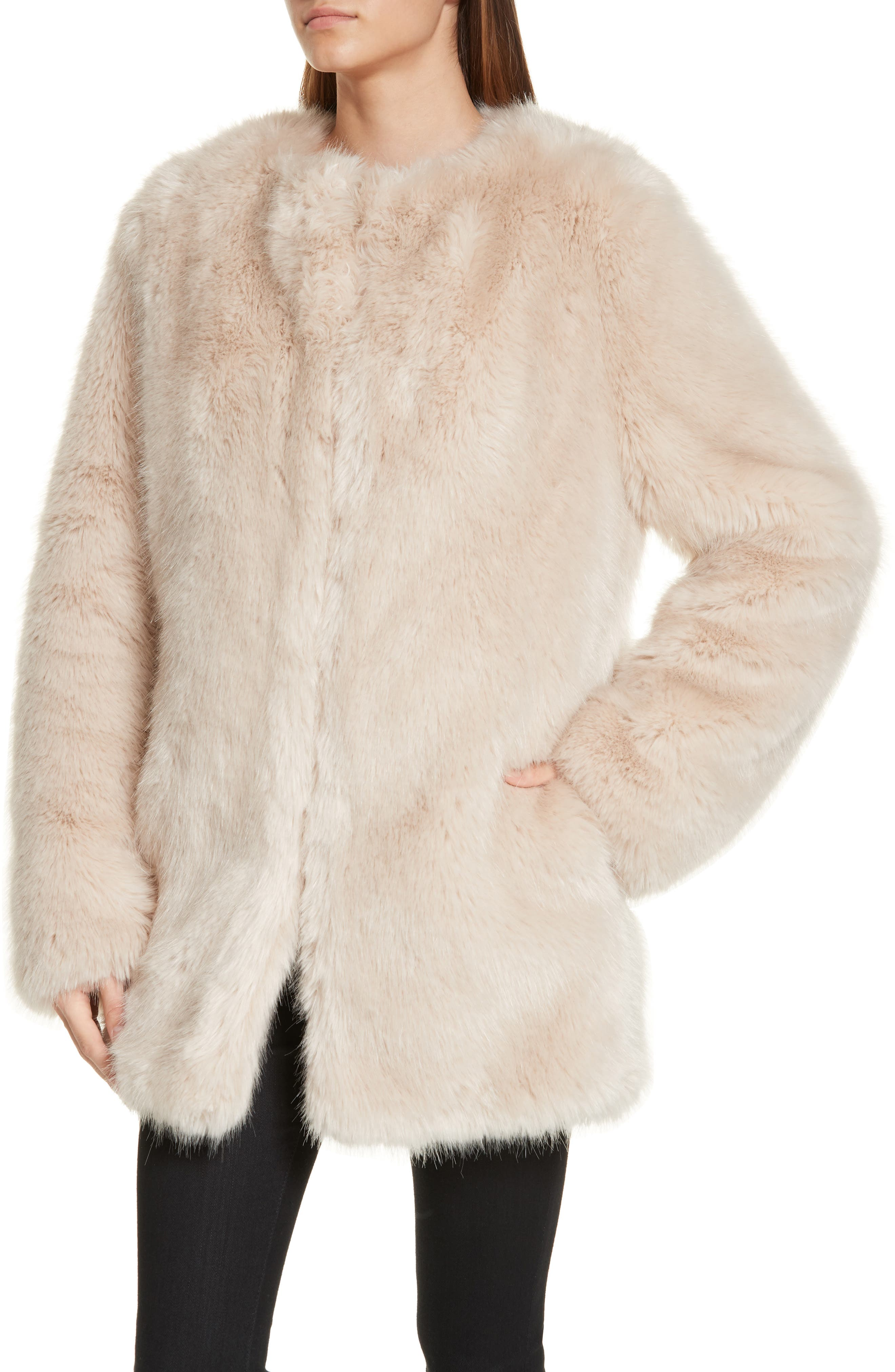 HELMUT LANG, Faux Fur Coat, Alternate thumbnail 5, color, OATMEAL