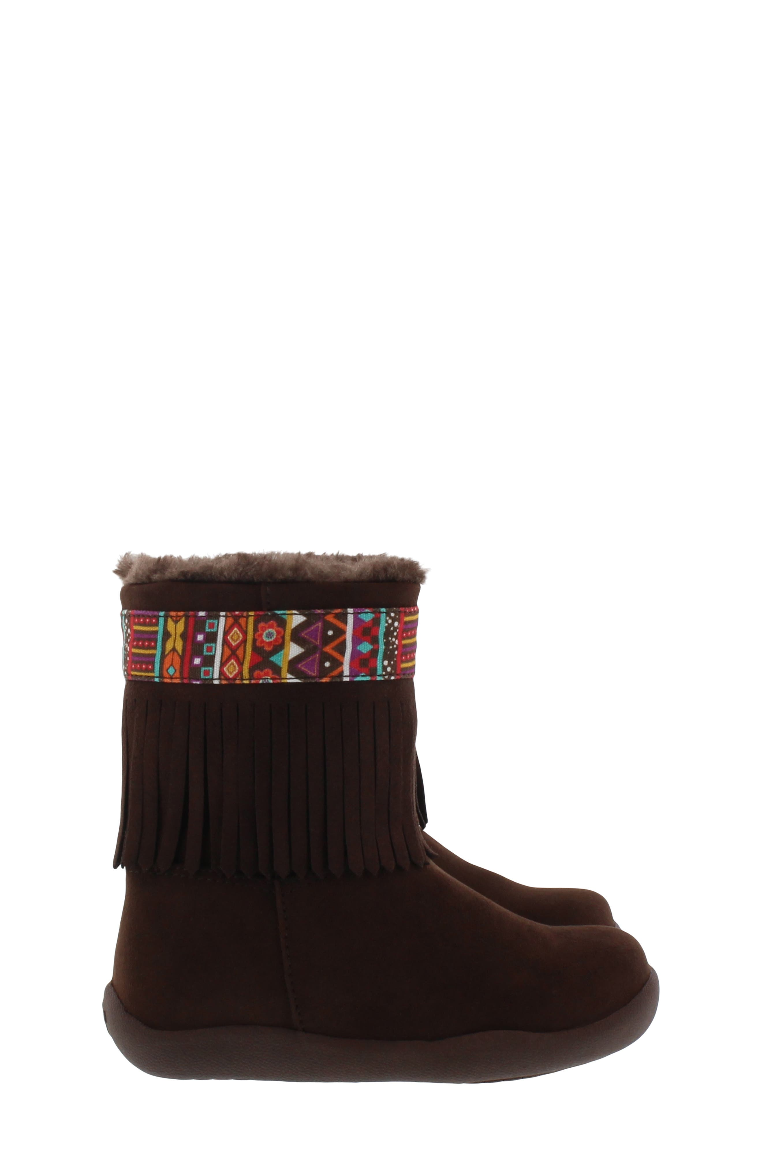 CHOOZE, Faux Fur Fringed Hope Bootie, Alternate thumbnail 3, color, BROWN