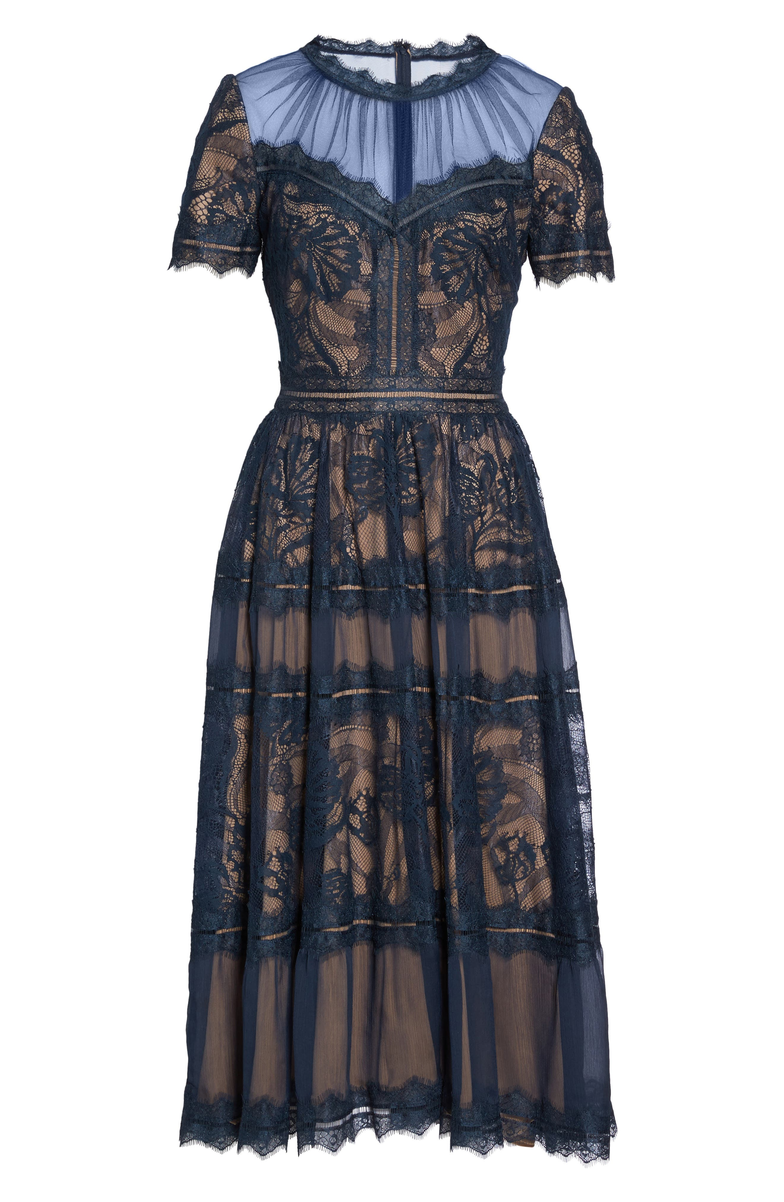 TADASHI SHOJI, Lace Midi Dress, Alternate thumbnail 7, color, NAVY/ NUDE