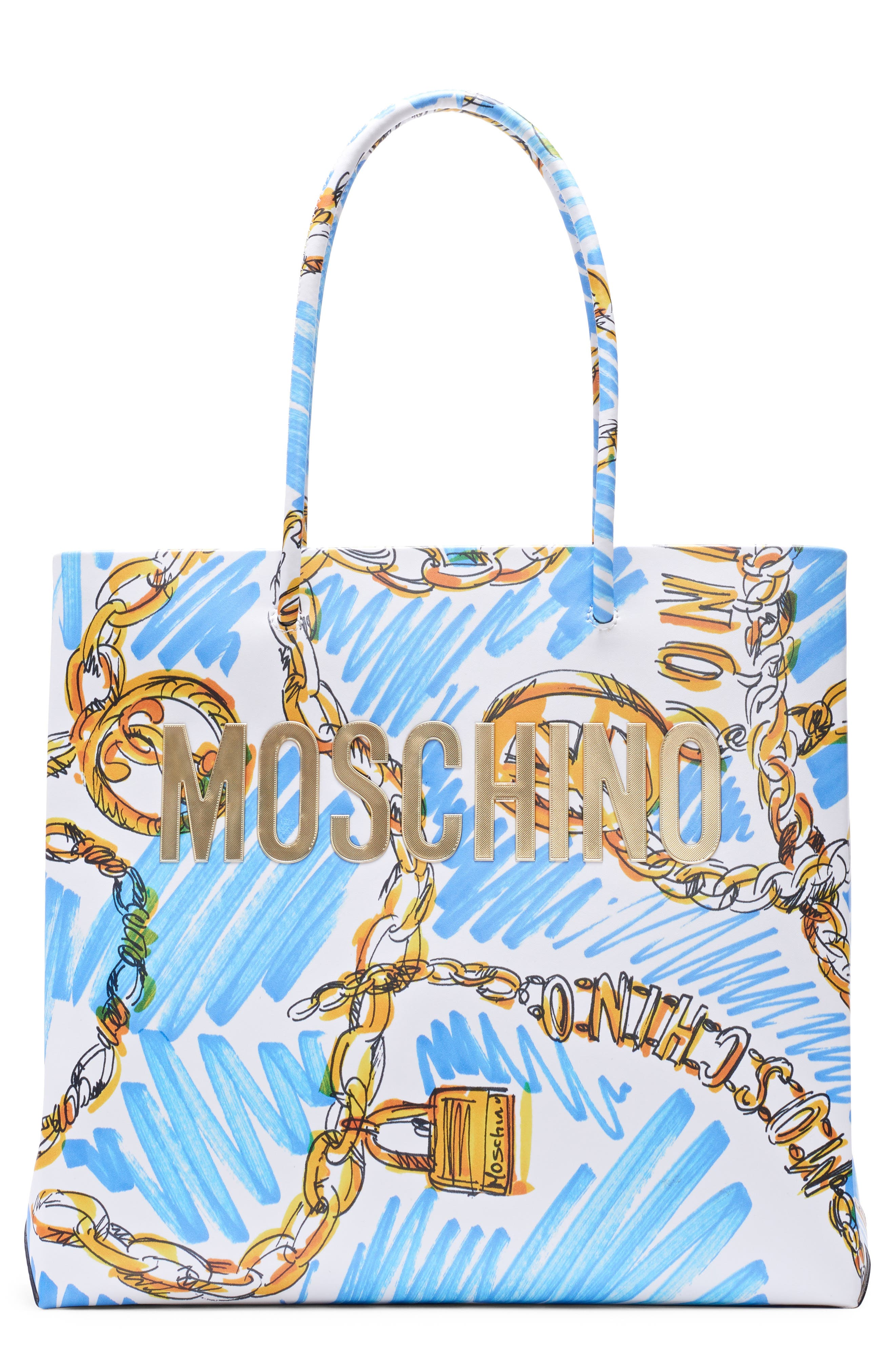 MOSCHINO, Medium Chain Scribble Tote, Main thumbnail 1, color, FANTASY PRINT WHITE