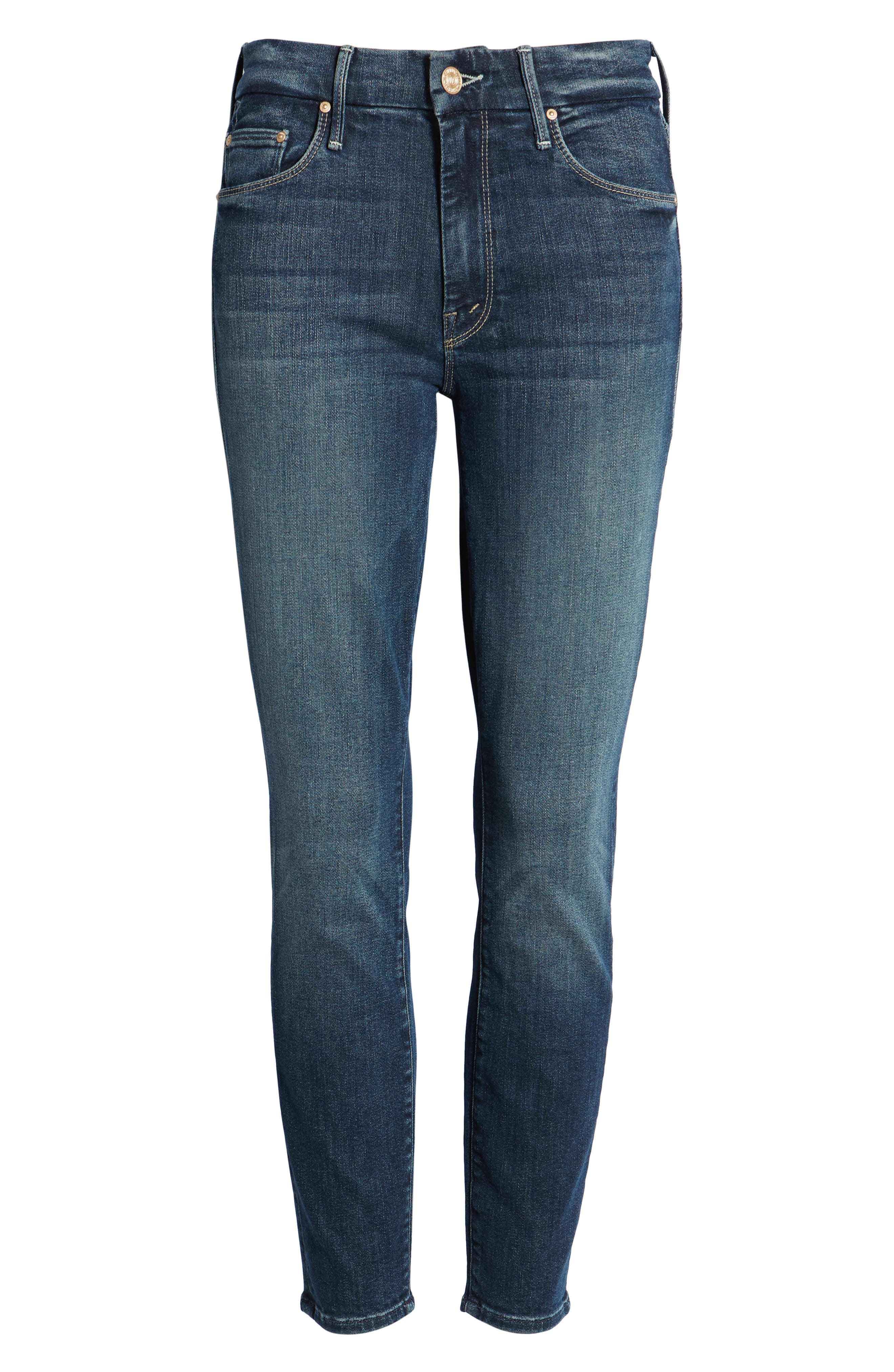 MOTHER, 'The Looker' Crop Skinny Jeans, Alternate thumbnail 7, color, ON THE EDGE