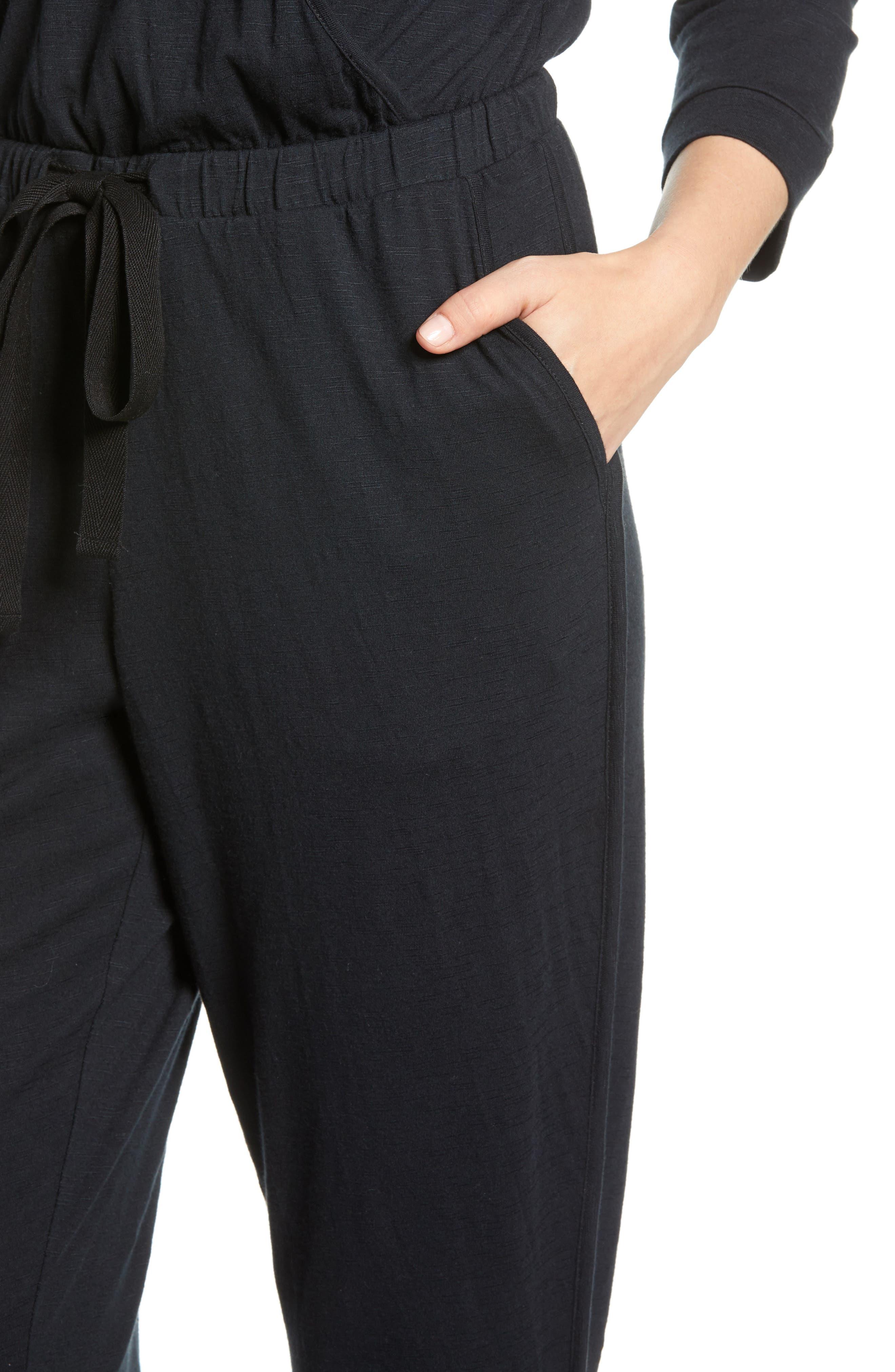 CASLON<SUP>®</SUP>, Surplice Crop Jumpsuit, Alternate thumbnail 4, color, BLACK
