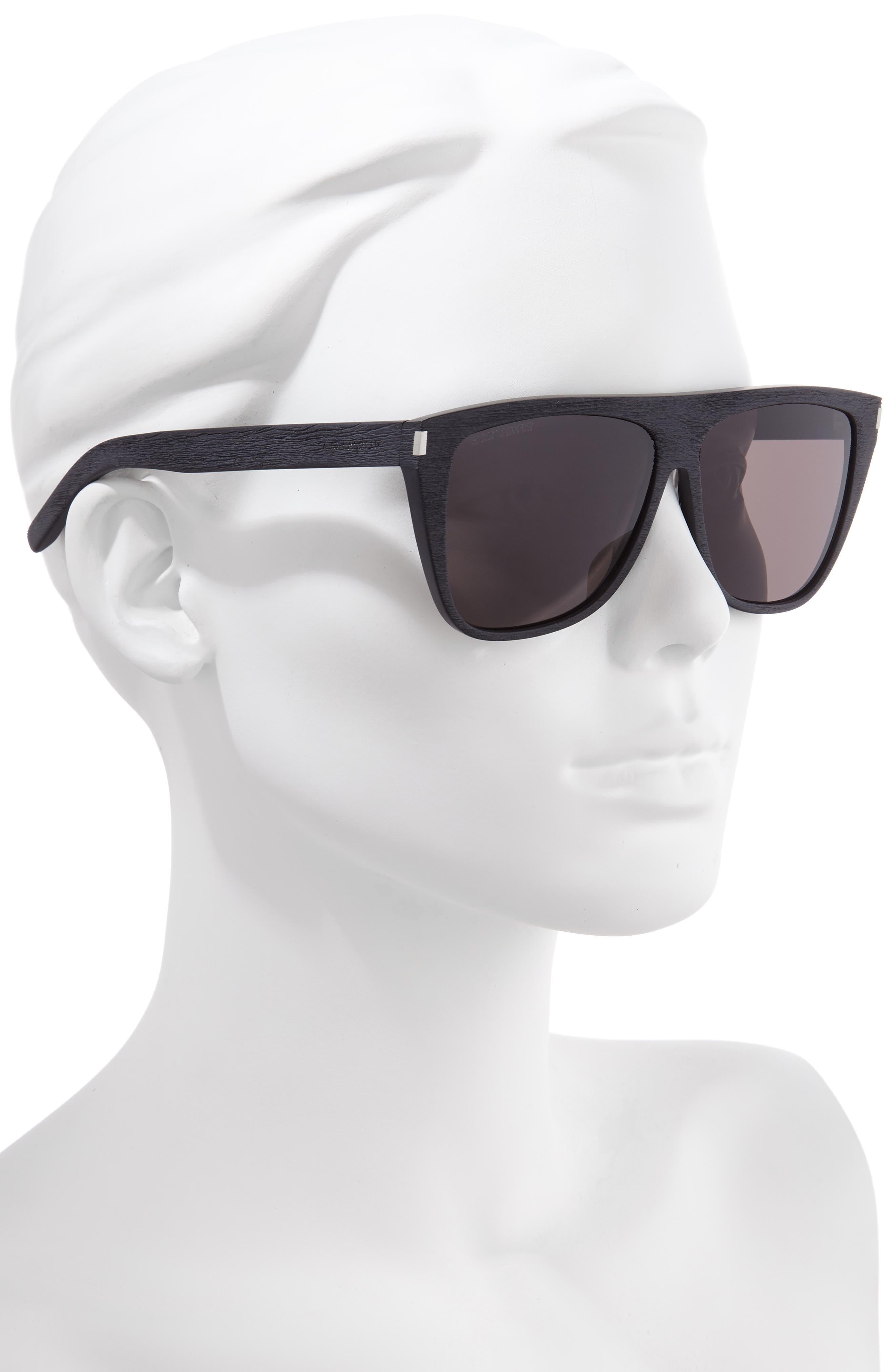 SAINT LAURENT, 59mm Sunglasses, Alternate thumbnail 2, color, WOOD EFFECT BLACK/ GREY SOLID