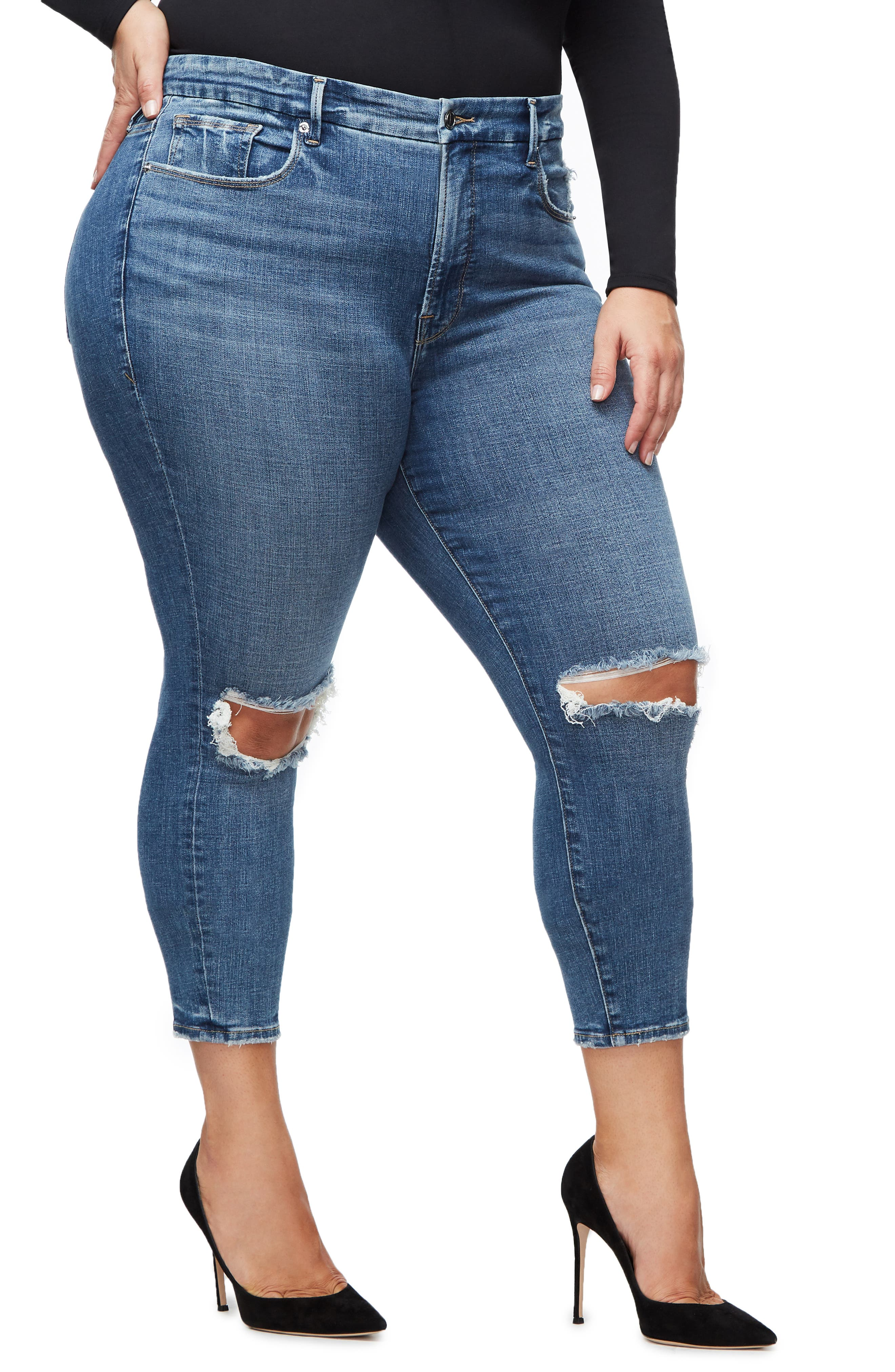 GOOD AMERICAN, Good Legs High Waist Crop Skinny Jeans, Alternate thumbnail 7, color, BLUE 261