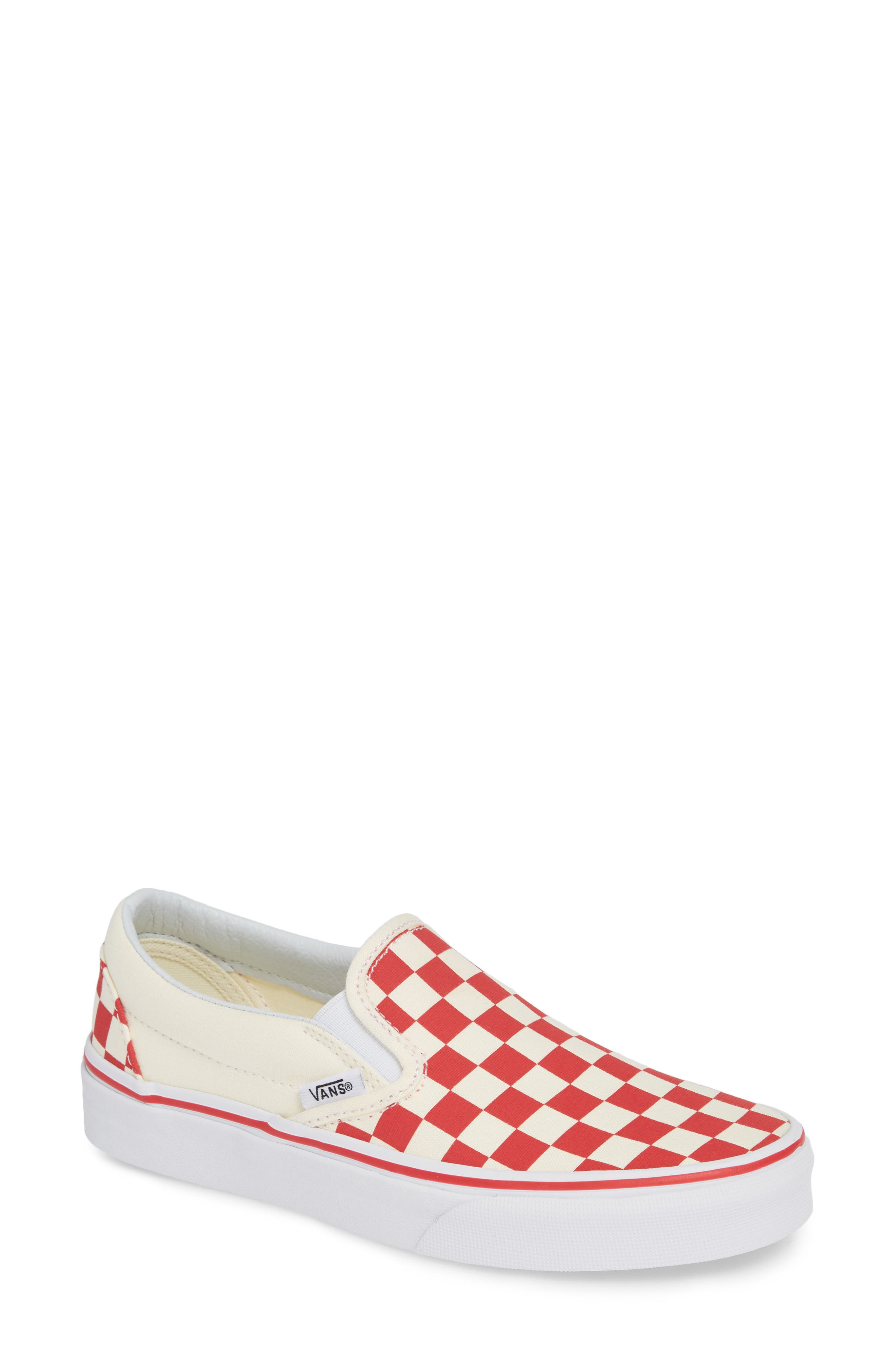 VANS, 'Classic' Slip-On, Main thumbnail 1, color, RACING RED/ WHITE