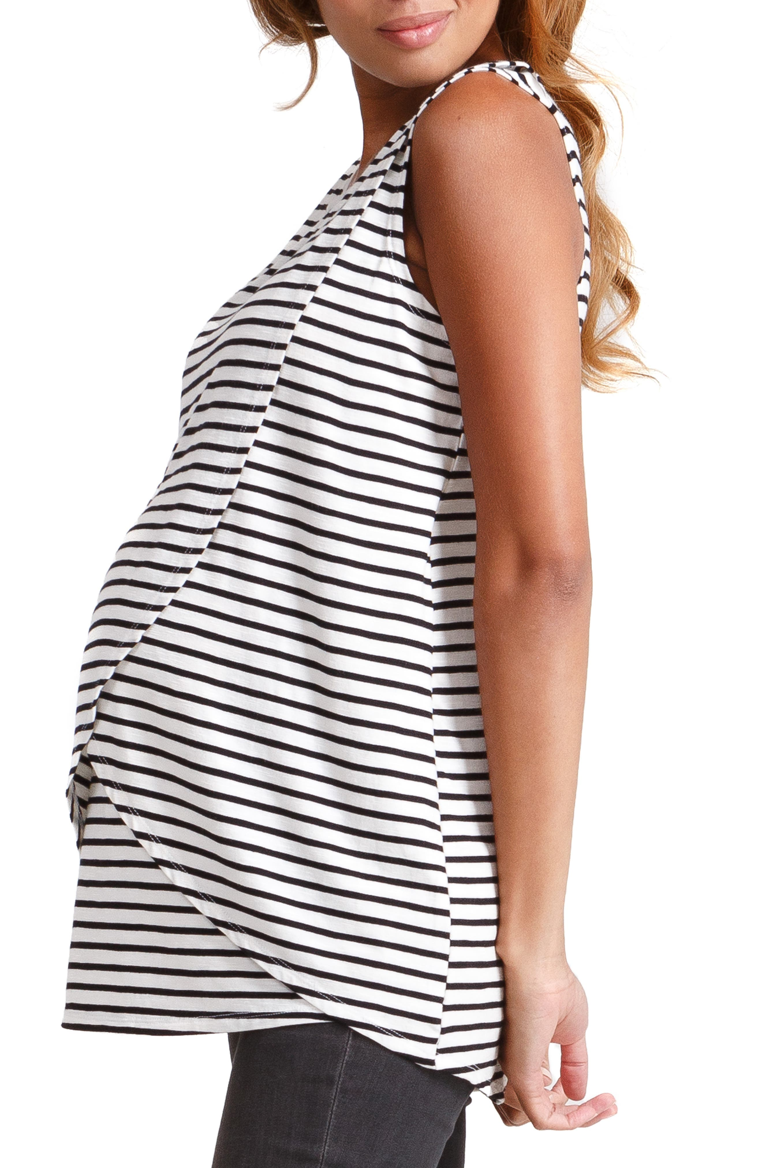 INGRID & ISABEL<SUP>®</SUP>, Cross Front Maternity/Nursing Top, Alternate thumbnail 3, color, BLACK/ WHITE STRIPE