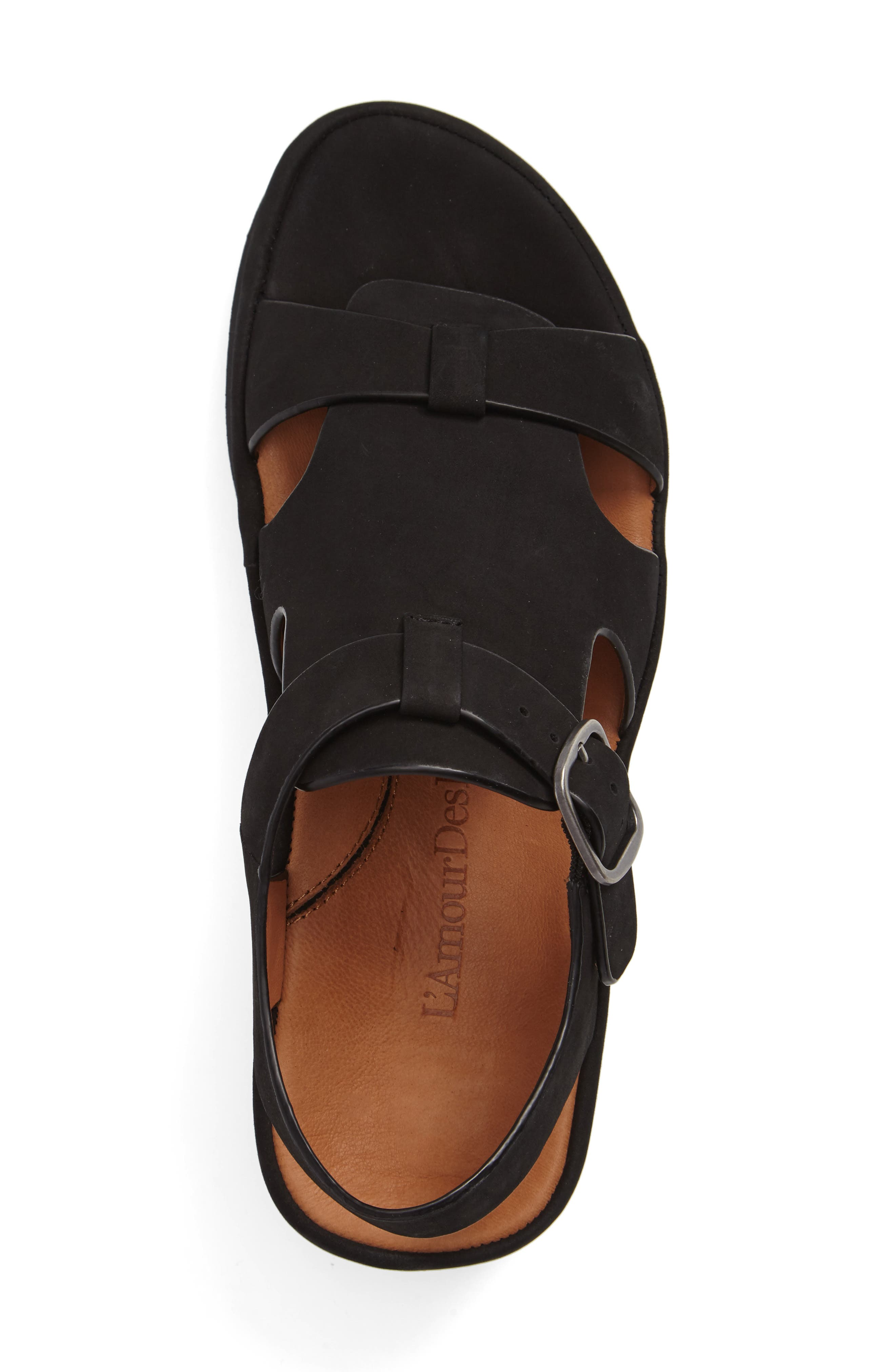 L'AMOUR DES PIEDS, Villefranche Sandal, Alternate thumbnail 3, color, BLACK NUBUCK
