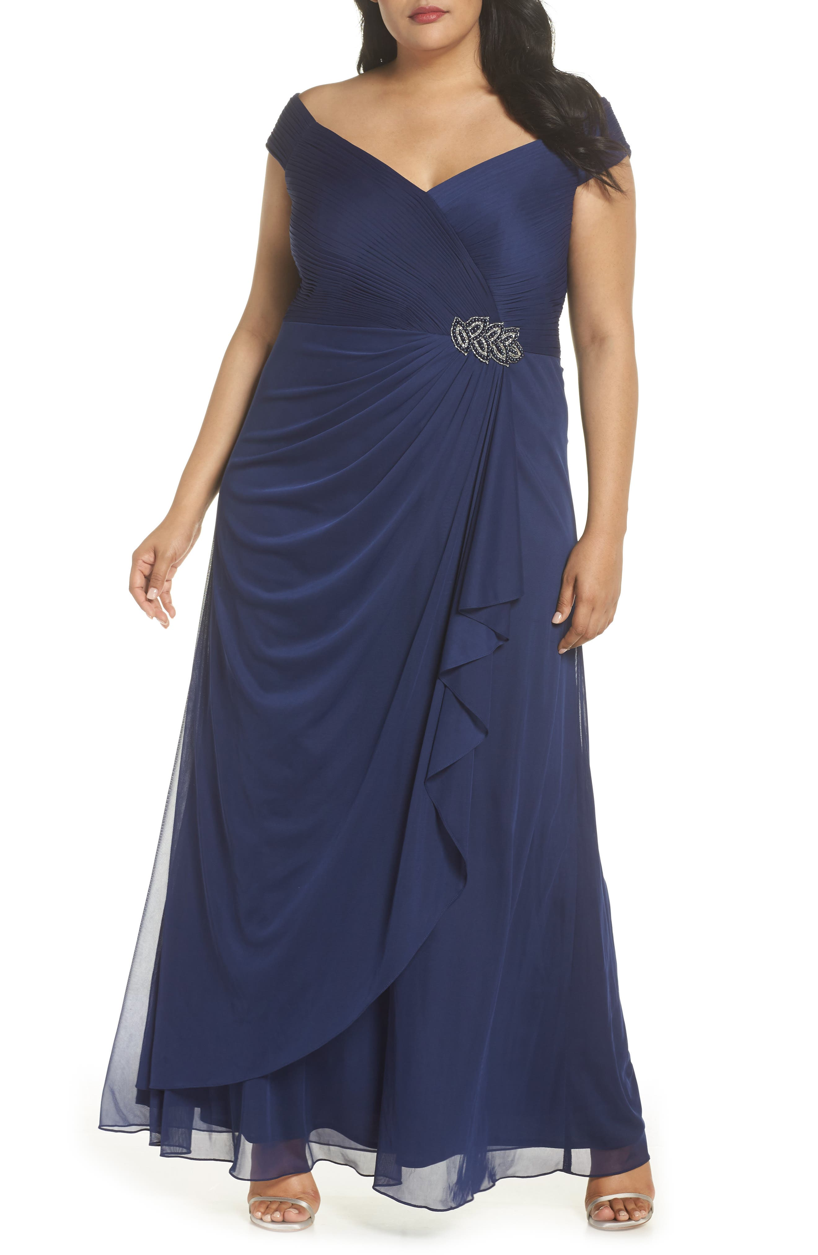 Plus Size Alex Evenings Embellished Pleat Gown, Blue
