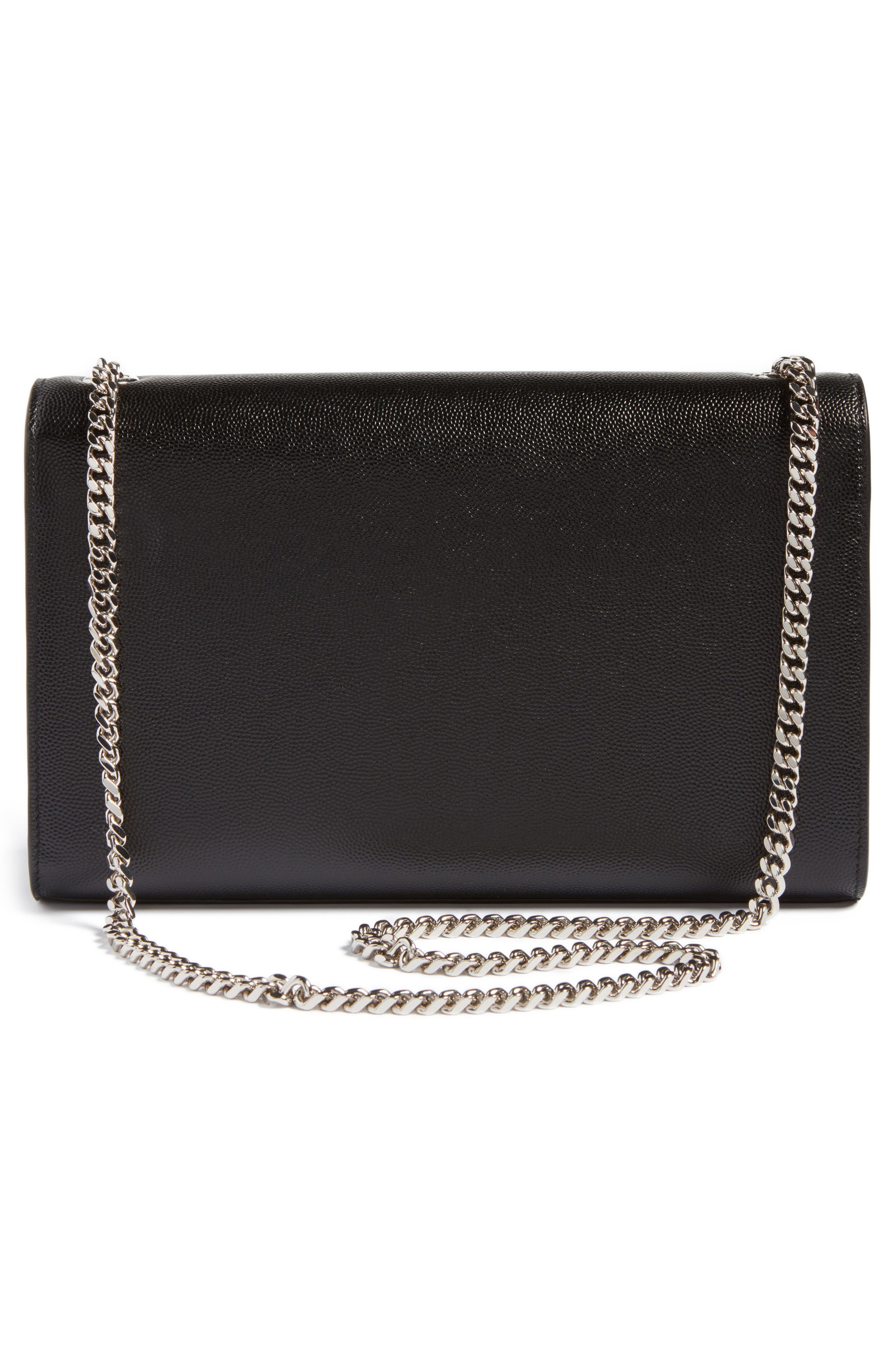 SAINT LAURENT, Medium Kate Calfskin Leather Shoulder Bag, Alternate thumbnail 3, color, NERO