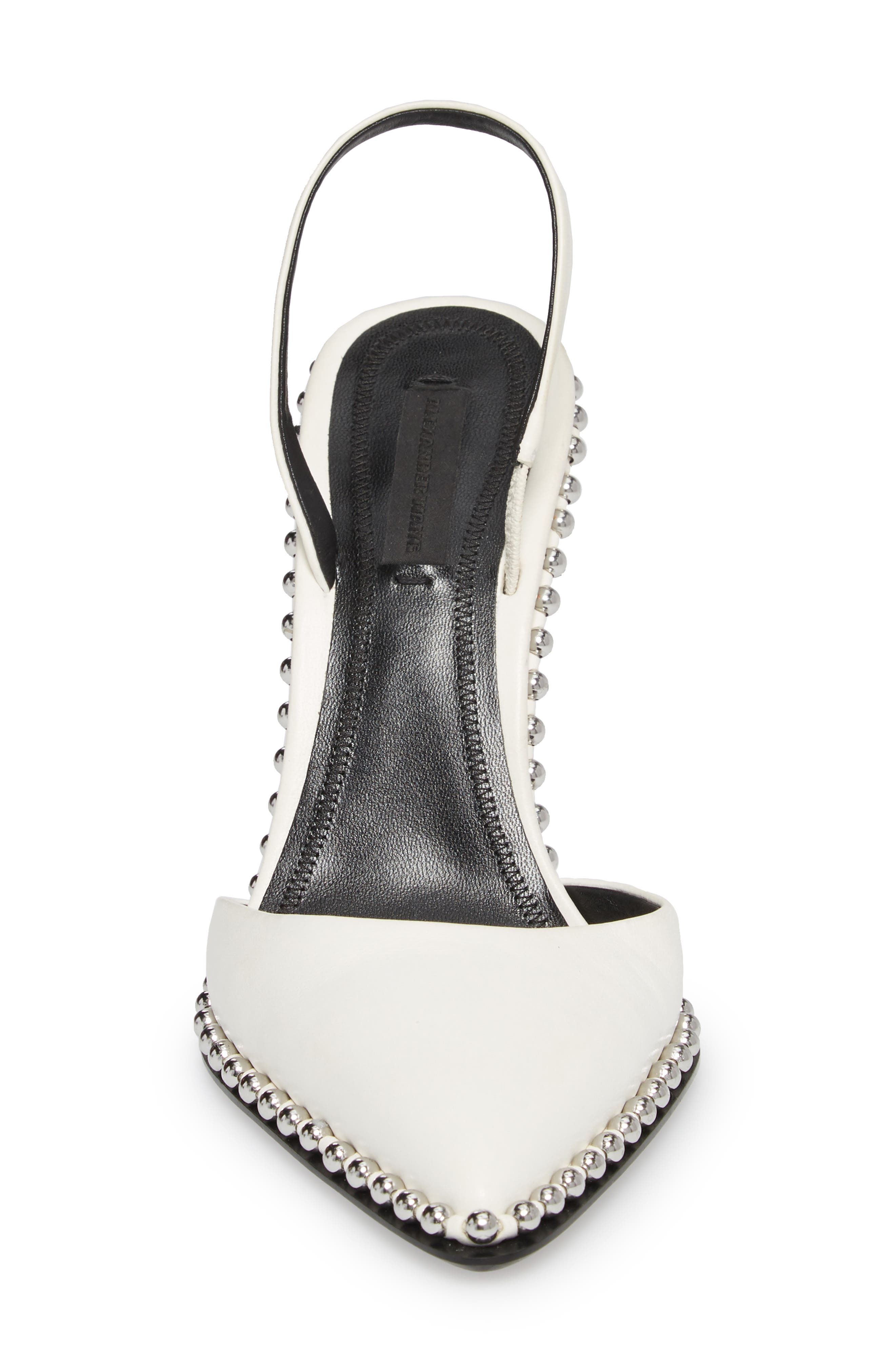 ALEXANDER WANG, Rina Beaded Pump, Alternate thumbnail 4, color, WHITE LEATHER