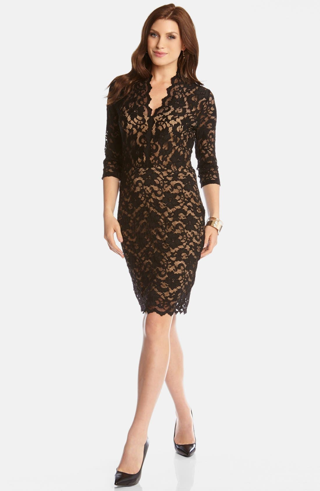 KAREN KANE, Scalloped Lace Sheath Dress, Main thumbnail 1, color, BLACK/ NUDE