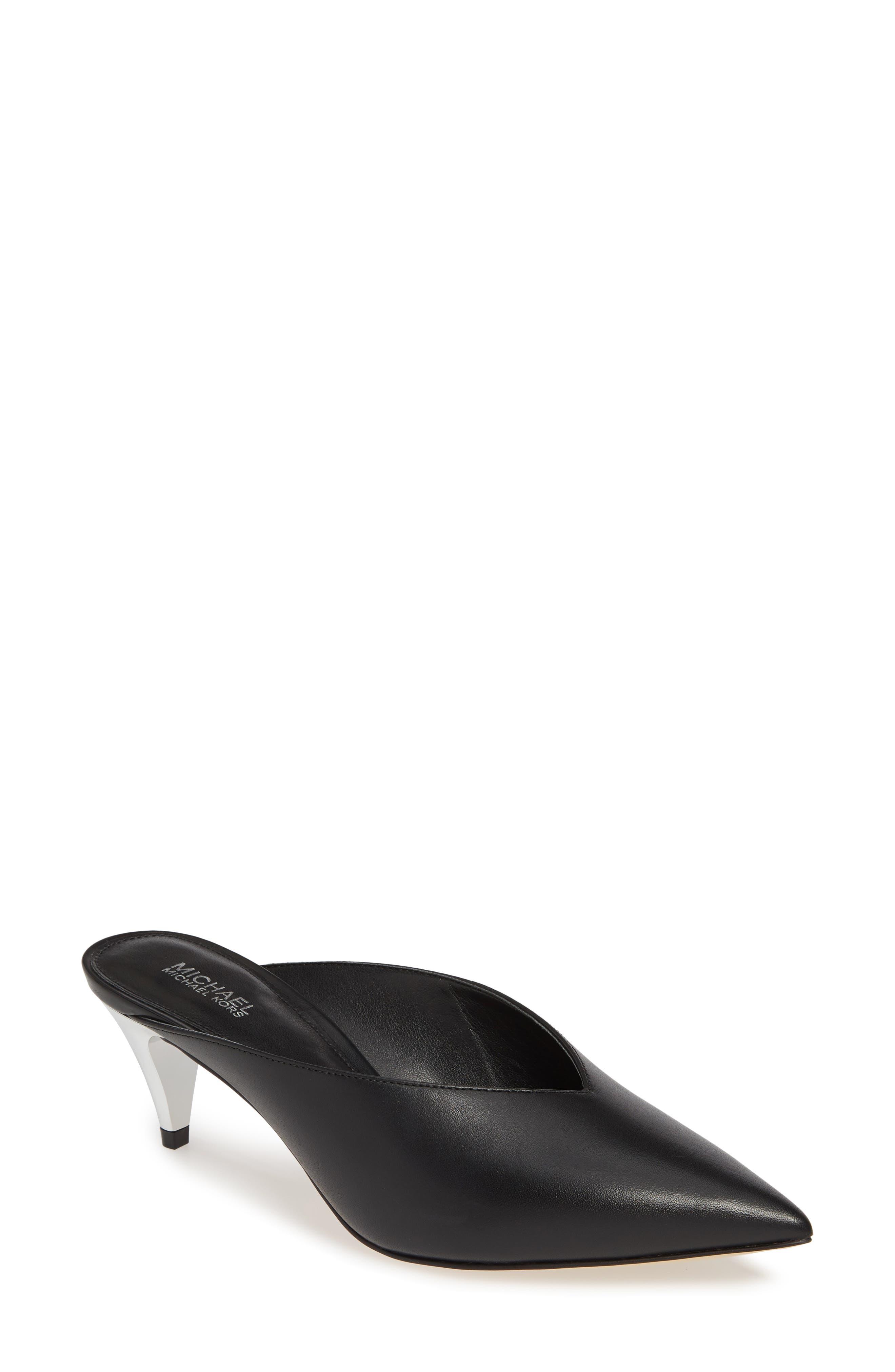 MICHAEL MICHAEL KORS, Cambria Mule, Main thumbnail 1, color, BLACK VACHETTA LEATHER