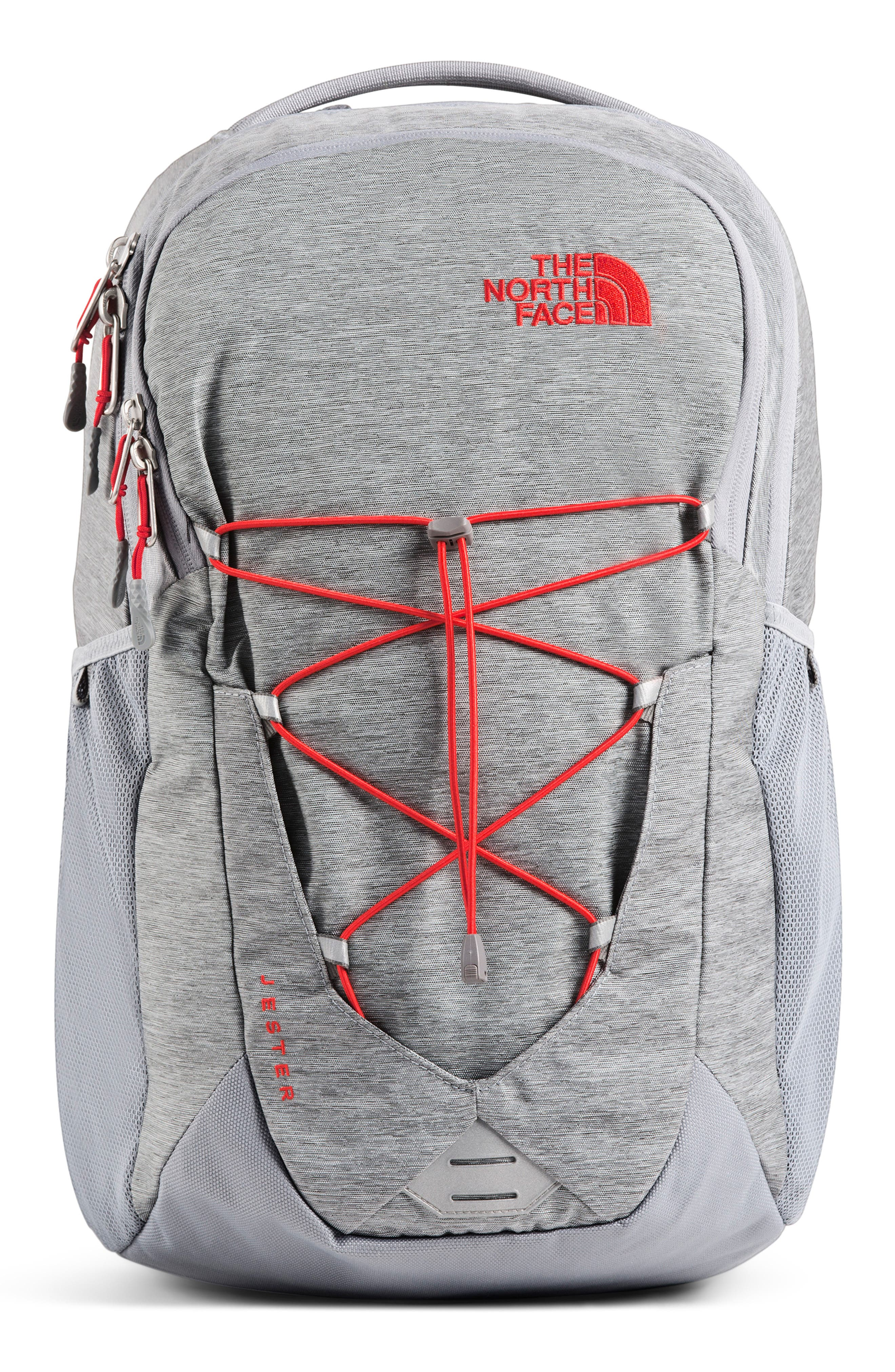 THE NORTH FACE Jester Backpack, Main, color, GREY DARK HEATHER/FIERY RED