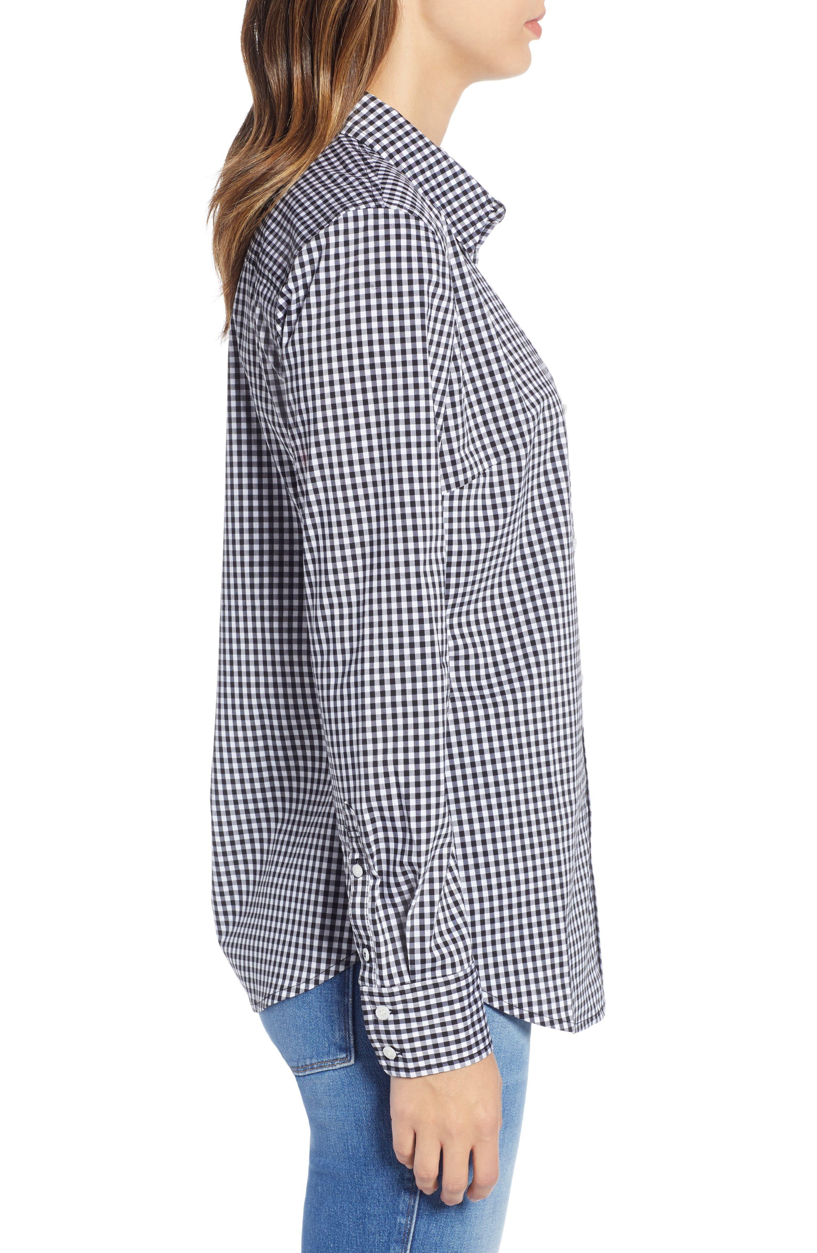 1901, Stretch Cotton Blend Shirt, Alternate thumbnail 3, color, BLACK GINGHAM