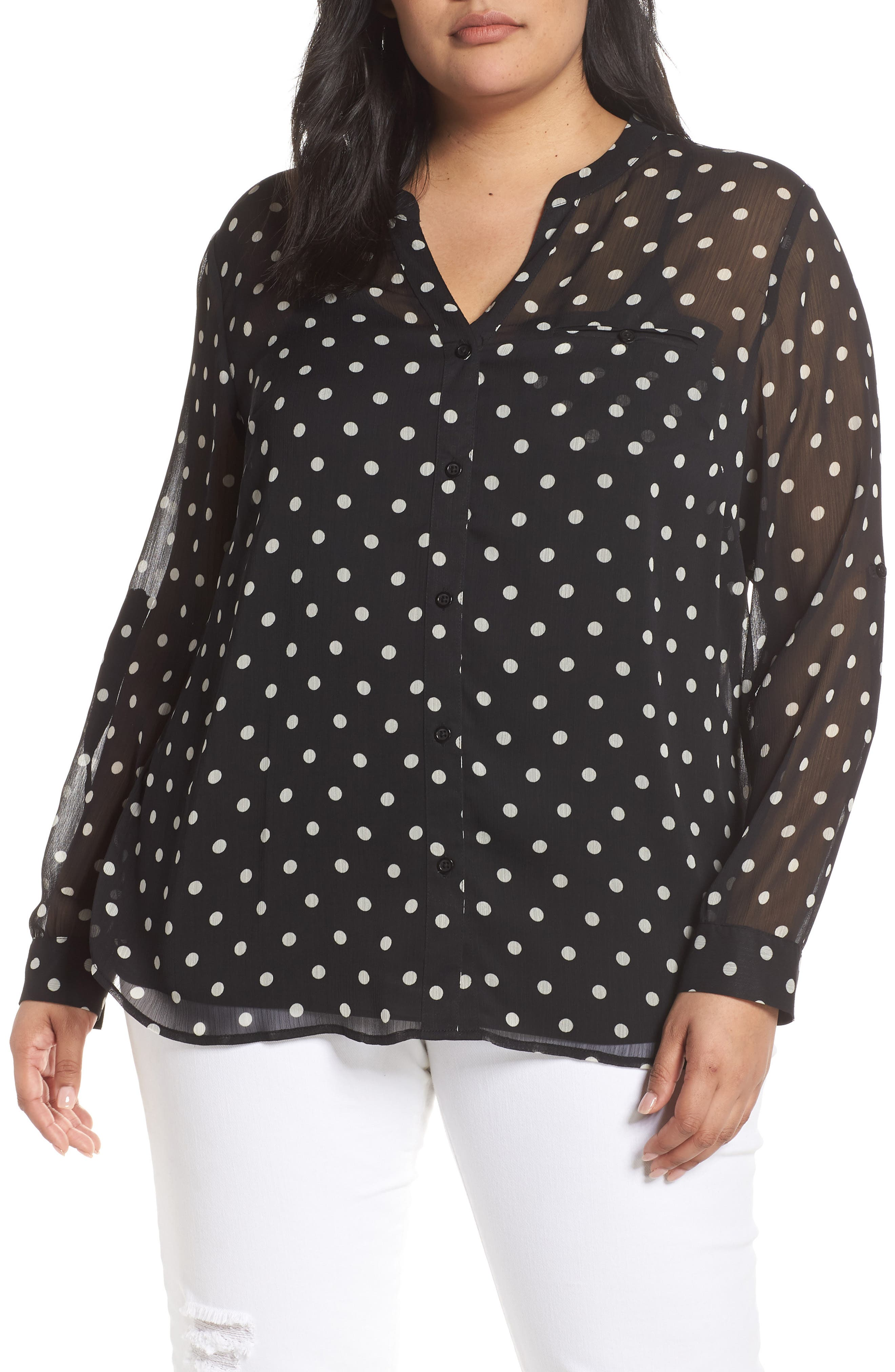 KUT FROM THE KLOTH Jasmine Roll Sleeve Top, Main, color, JULIA BLACK