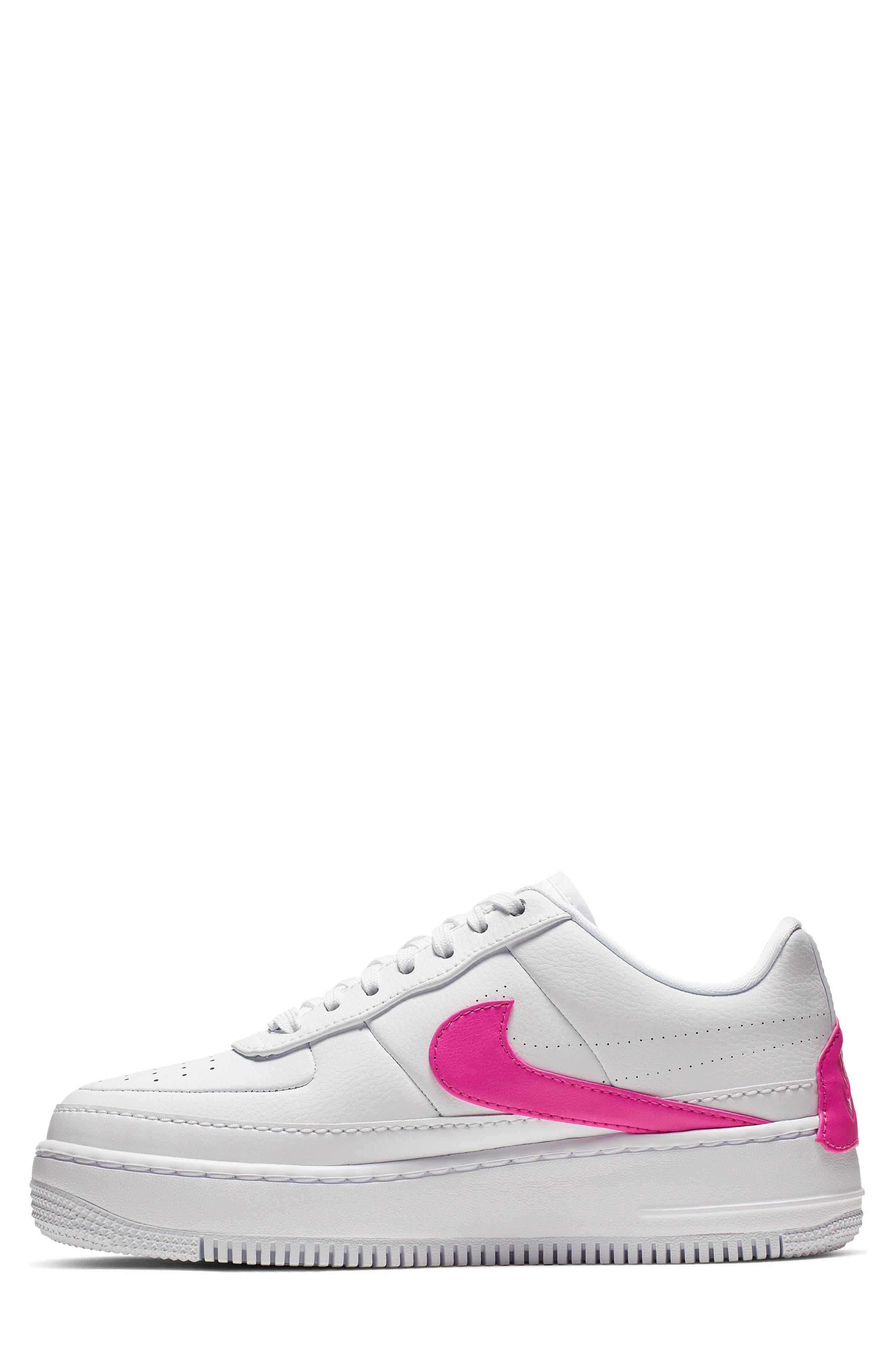 NIKE, Air Force 1 Jester XX Sneaker, Alternate thumbnail 3, color, WHITE/ LASER FUCHSIA
