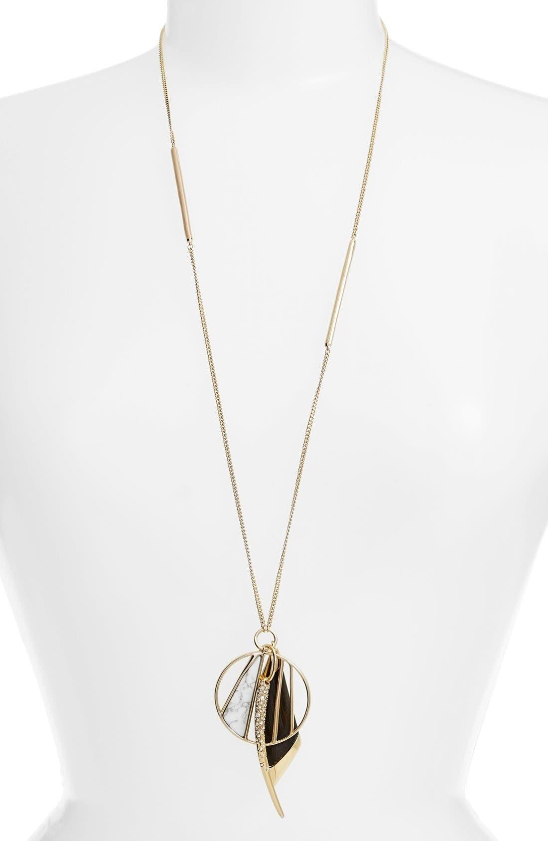 ALEXIS BITTAR, 'Lucite<sup>®</sup> Metal' Crystal Charm Pendant Necklace, Main thumbnail 1, color, 001