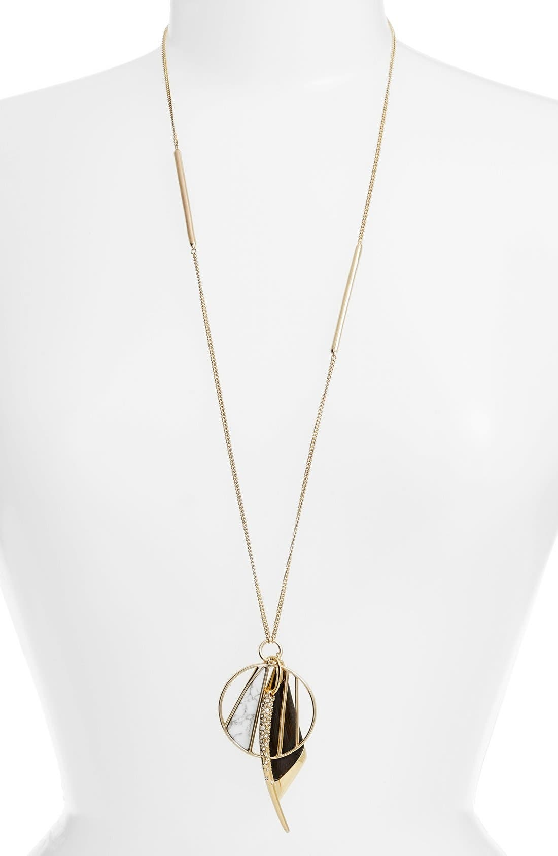 ALEXIS BITTAR 'Lucite<sup>®</sup> Metal' Crystal Charm Pendant Necklace, Main, color, 001
