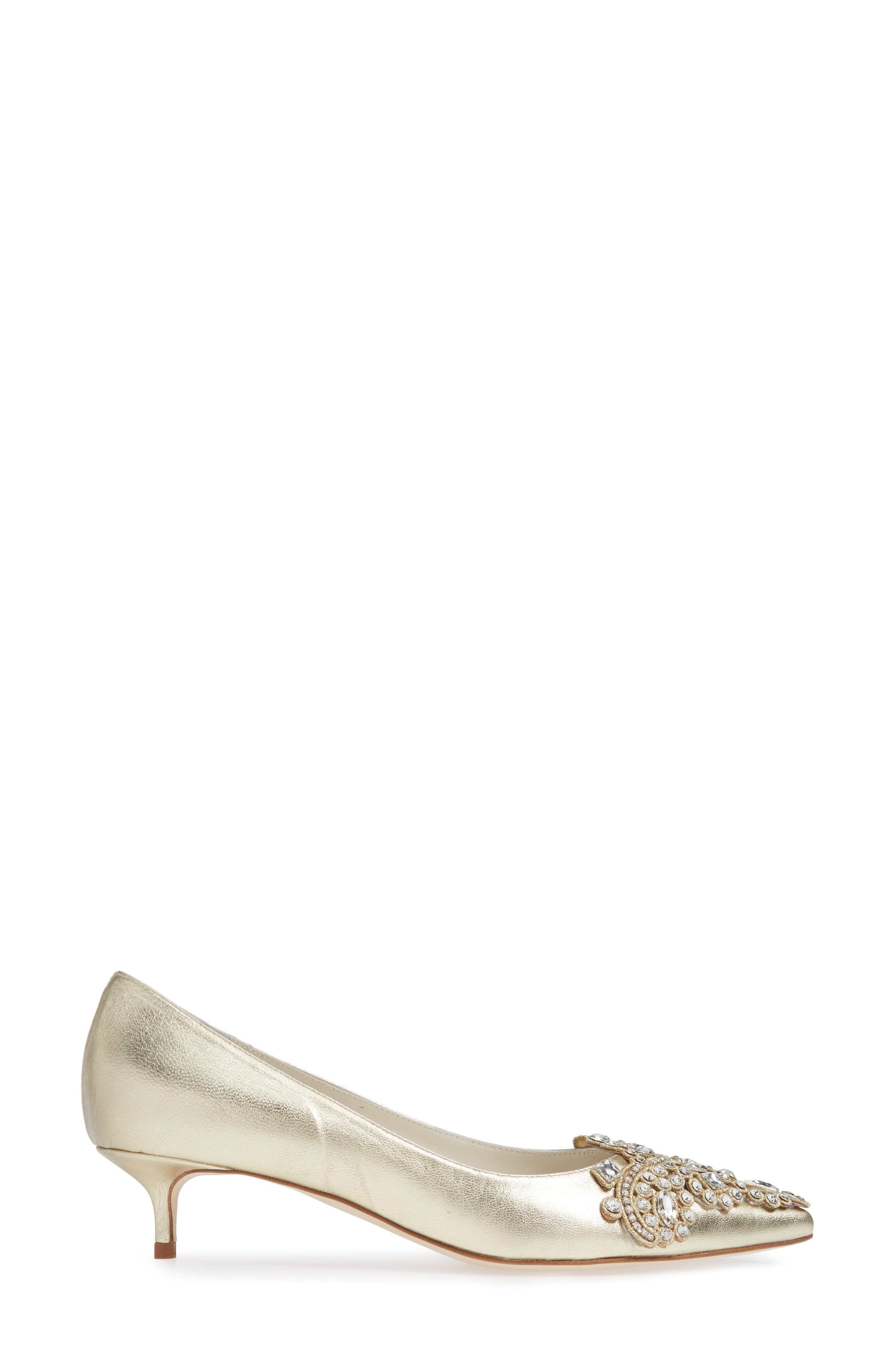 SOMETHING BLEU, Brinsley Embellished Pointy Toe Pump, Alternate thumbnail 3, color, PLATINO NAPPA