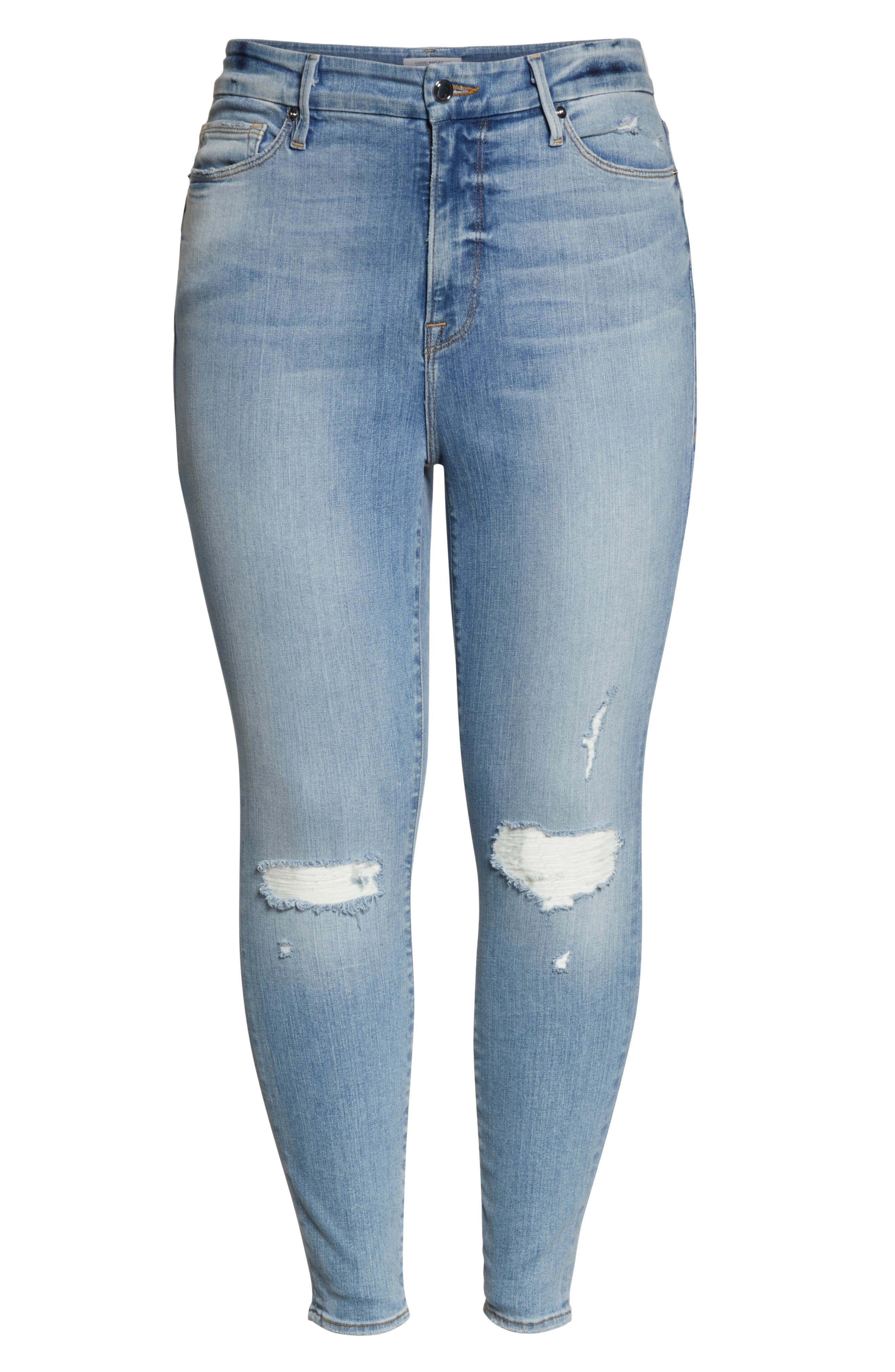 GOOD AMERICAN, Good Legs Ripped Crop Skinny Jeans, Alternate thumbnail 13, color, BLUE 199