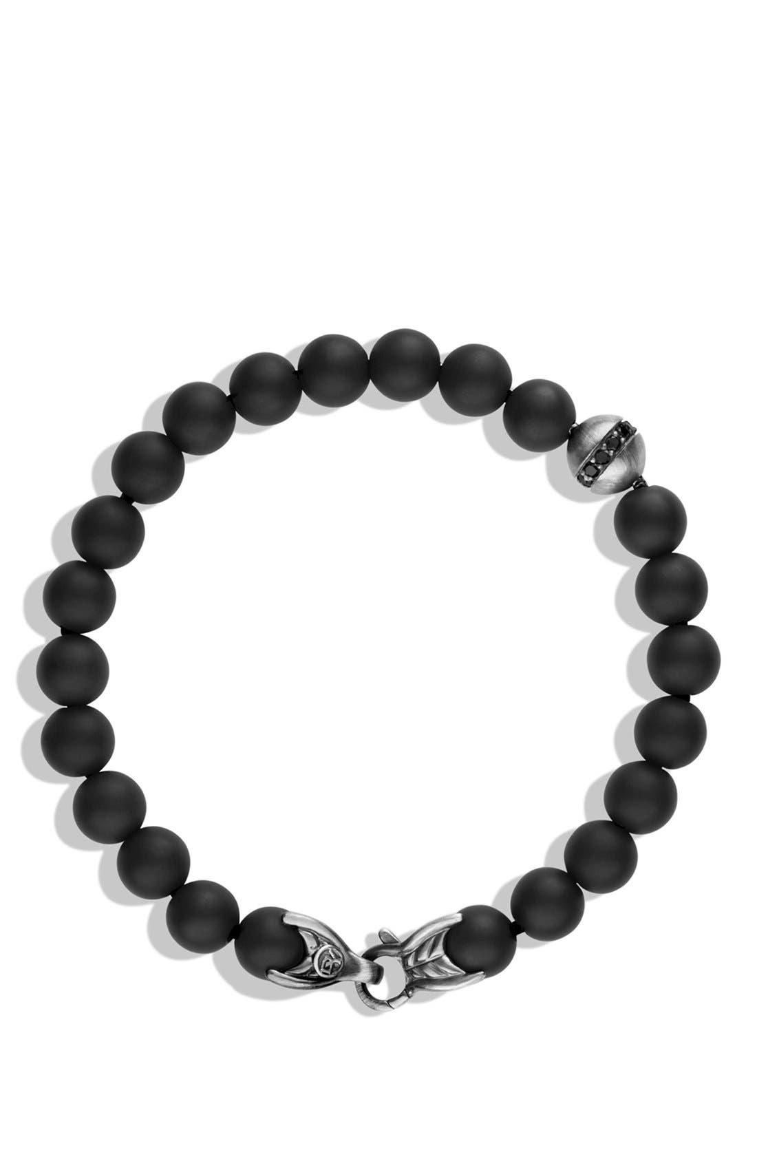 DAVID YURMAN, 'Spiritual Beads' Bracelet with Black Onyx and Black Diamonds, Alternate thumbnail 2, color, BLACK ONYX