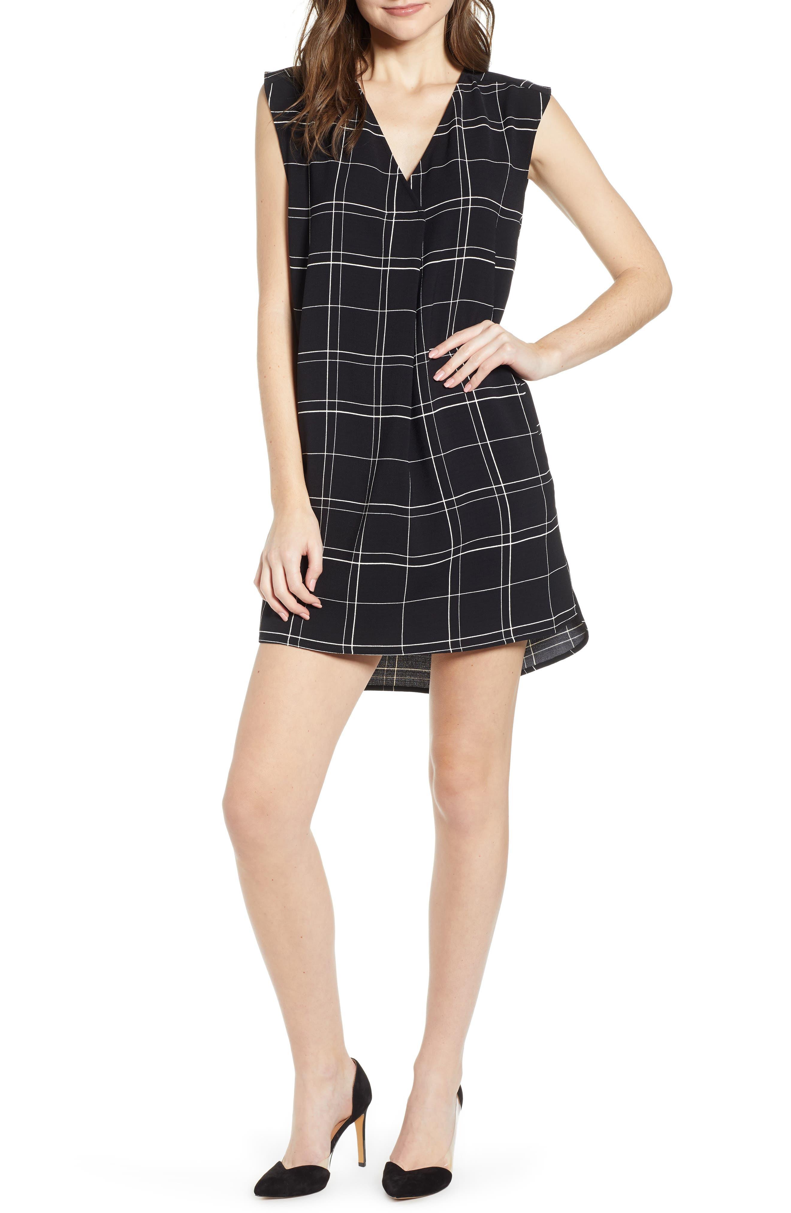 LEITH Everyday Dress, Main, color, BLACK GLAM CITY CHECK
