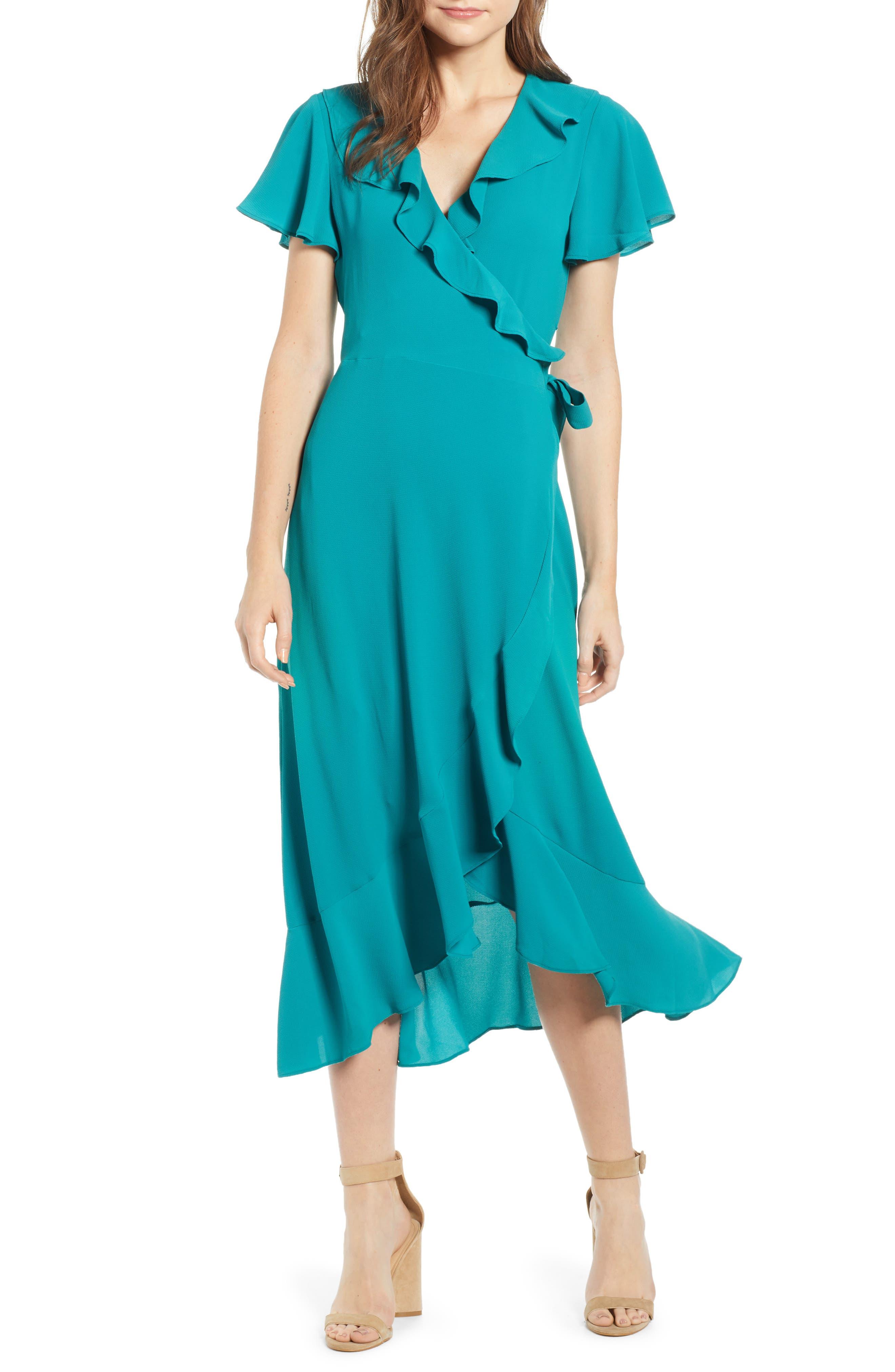 Chelsea28 Ruffle Wrap Dress, Blue/green